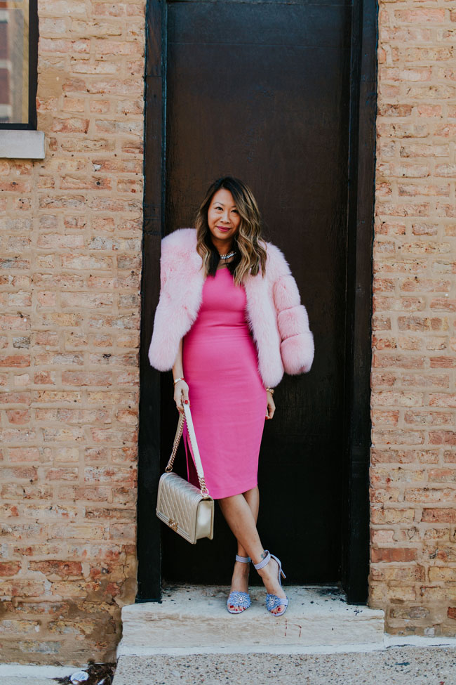 Pink Likely Dress, Pink Fur, best outfit for Easter, Chicago Style for Spring, What to wear for a wedding, Amazon fashion dress