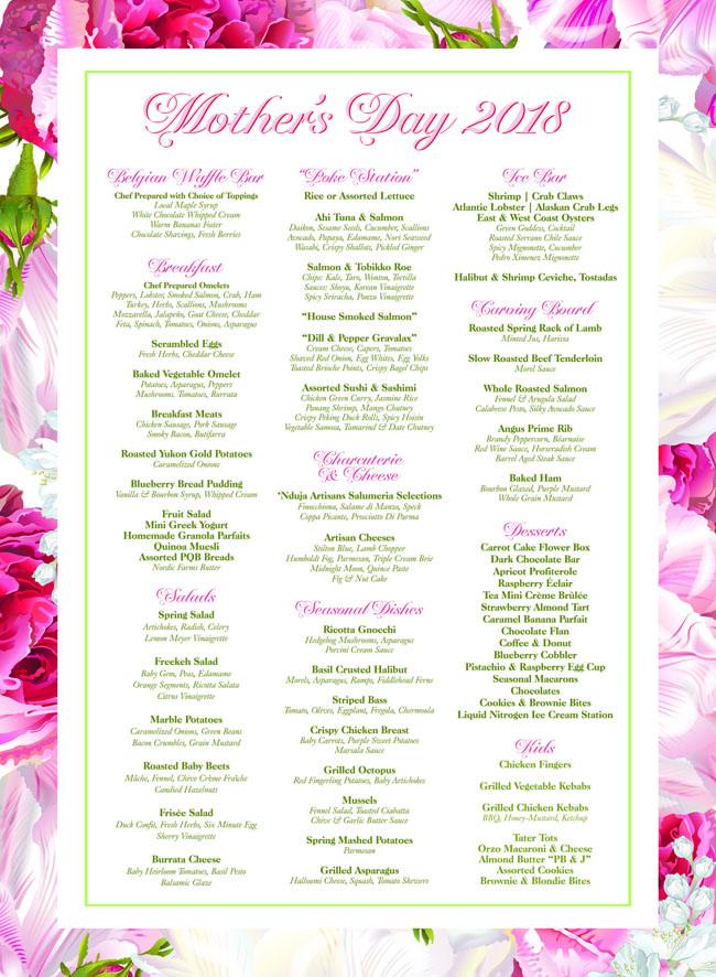 mother's day four seasons menu