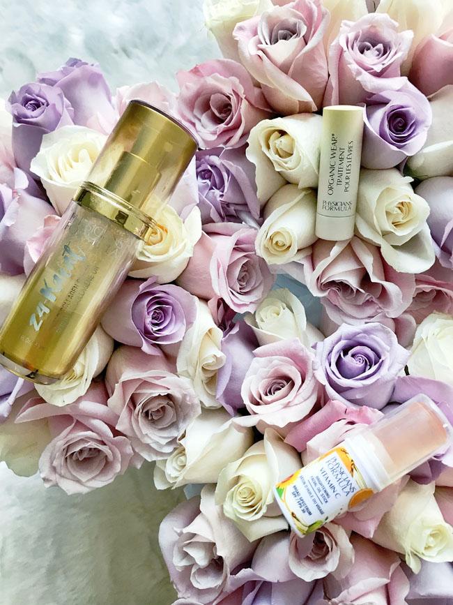 physicians formula Vitamin C Brightening Facial Oil Stick, 24-Karat Gold Collagen Serum, and Organic Wear Lip