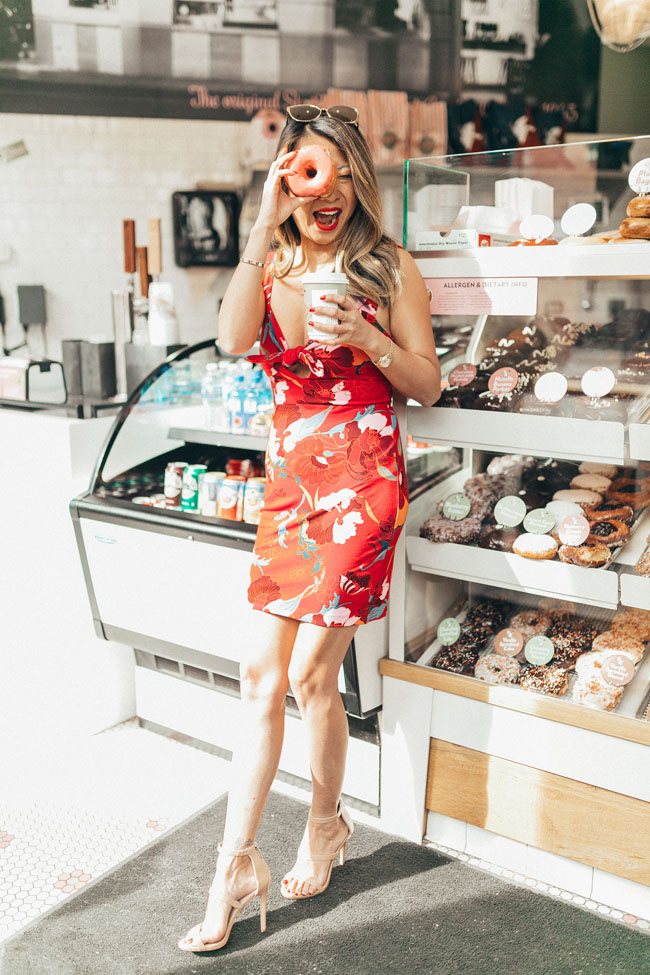 Chicago Style Blogger Jen Worman, Stan's Donuts, Donut Photo Shoot, Free People Cherry Mini Dress