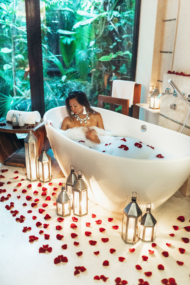 Viceroy Riviera Maya Bathtub, Romantic Setup, Bath tub setup,
