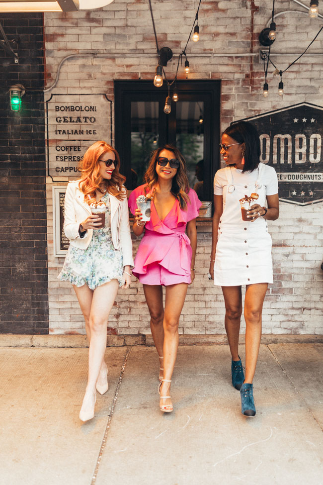 pink vici dolls romper, best chicago fashion bloggers jennifer worman ceta walters andrea levoff