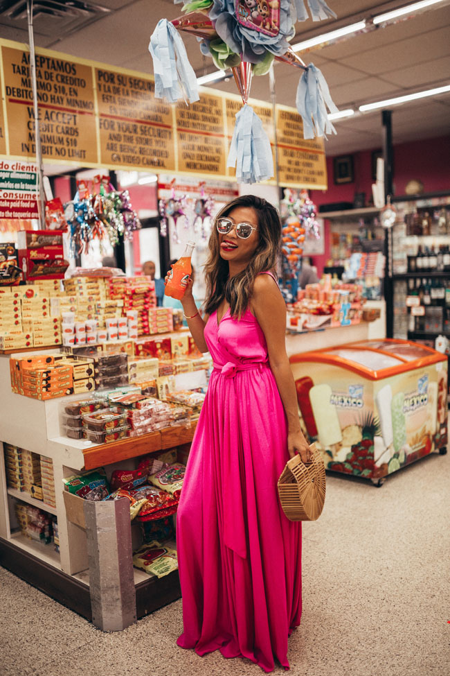 Pink Maxi Dress, Mexican Grocery Store Shoot, Jennifer Worman, Pink Vici Collection Dress
