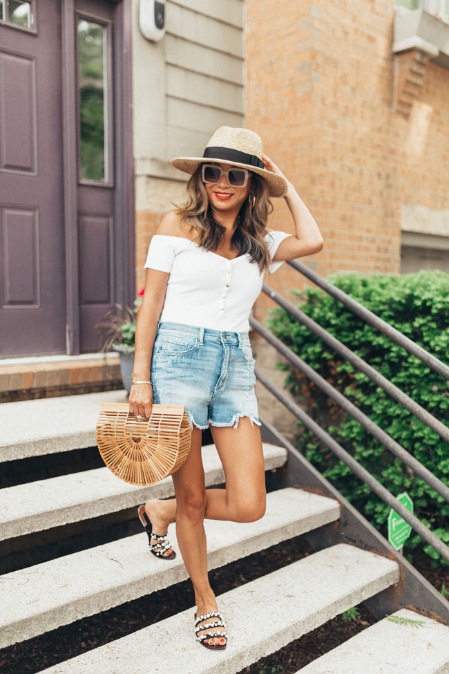 Akira Bodysuit, Vici collection shorts, Amazon wicker bag, Jennifer Worman, Summer Style in Chicago, Style blogger Chicago