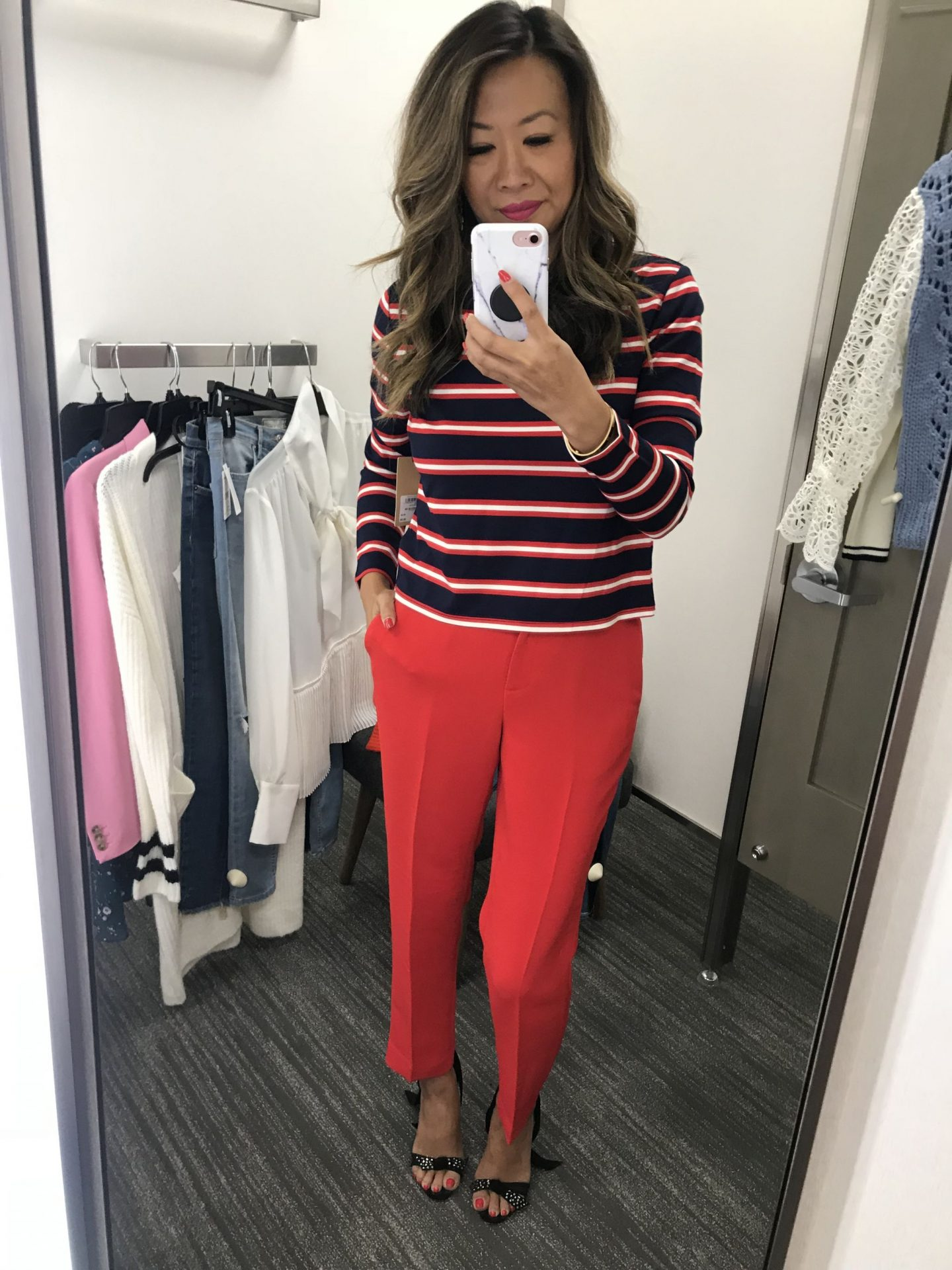 Halogen Striped Top and Red Pants, Best work Wear from Nordstrom, Nordstrom Anniversary Sale, Best items from Nordstrom, What to Wear for Fall in Chicago, Jennifer Worman