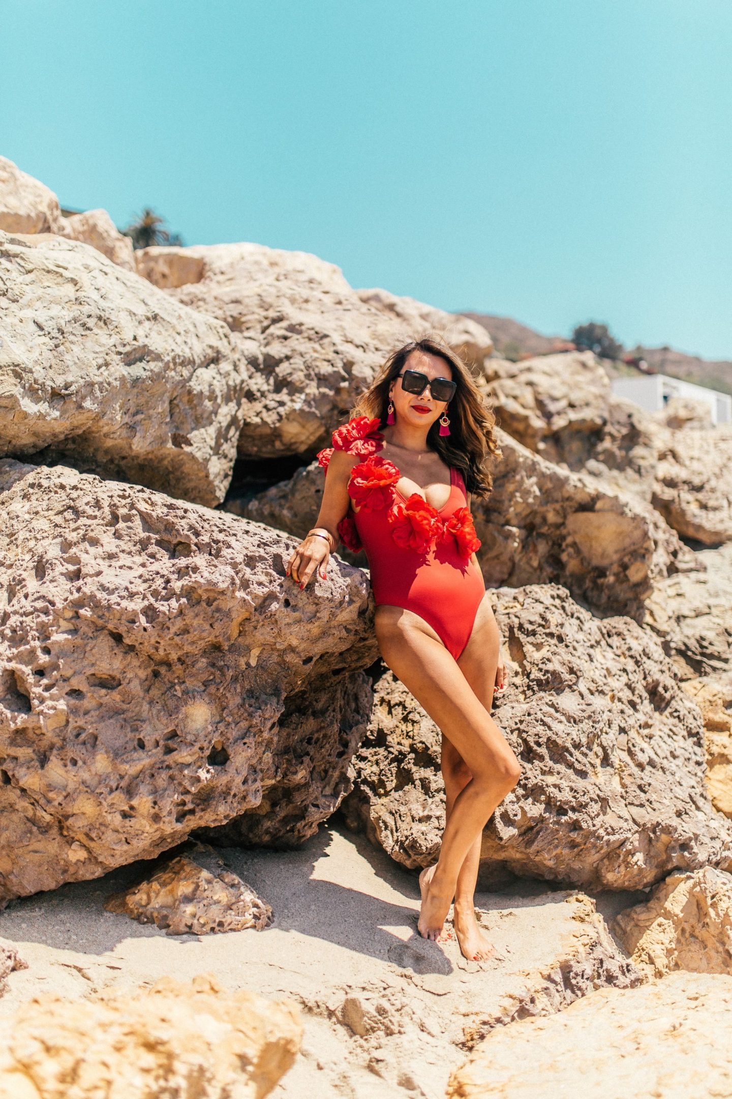 Red Asos Swimsuit, Floral Applique Swimsuit, Best Swimsuits under $50, Jennifer Worman,