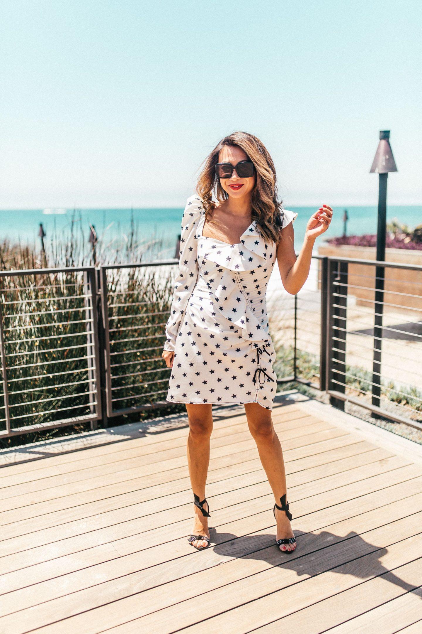 Chicago Travel Blogger, Chicago Best Fashion Blogger, Jennifer Worman, Los Angeles, LA girls trip, Nobu Malibu, star print dress, discover LA