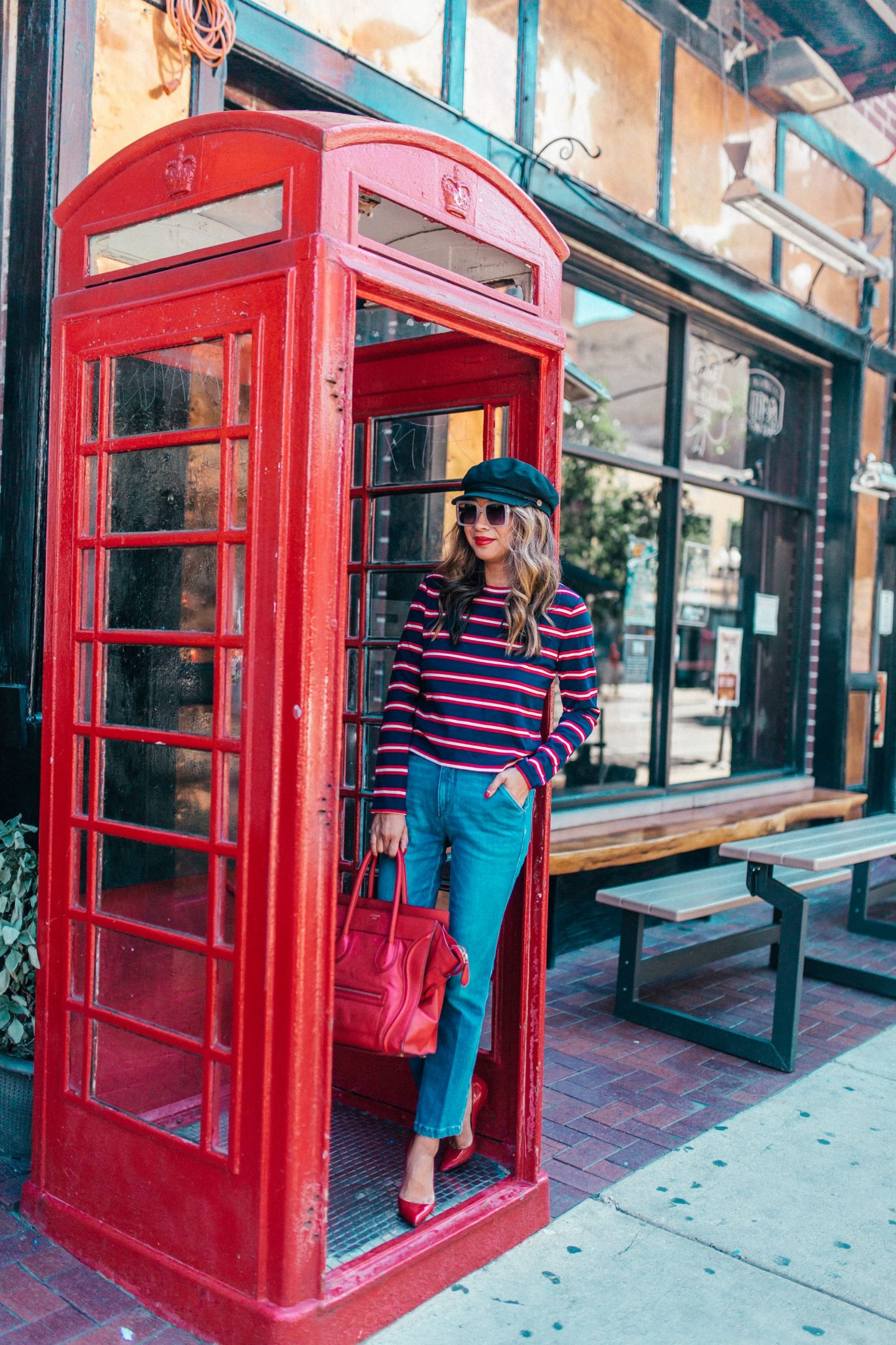 Nordstrom Stripe Top,How to Dress for Fall, Jennifer Worman, Chicago Style Blogger, Chicago Fall Style, Halogen Stripe Top, Frame Wide Leg Denim