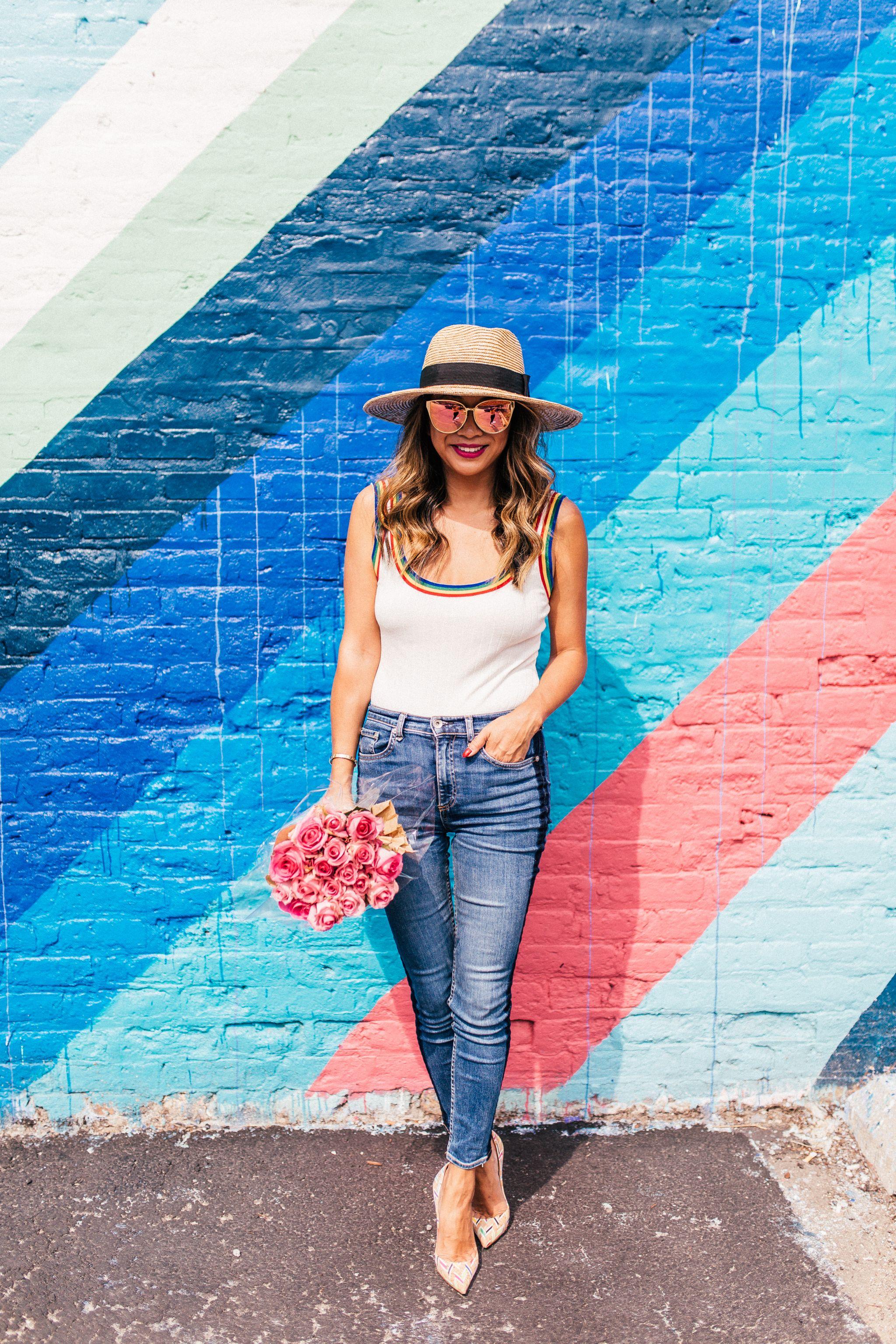 Rainbow Revolve Bodysuit, Wearing Bodysuits and Tips , White Tank Bodysuit, Jennifer Worman, Chicago Style Blogger