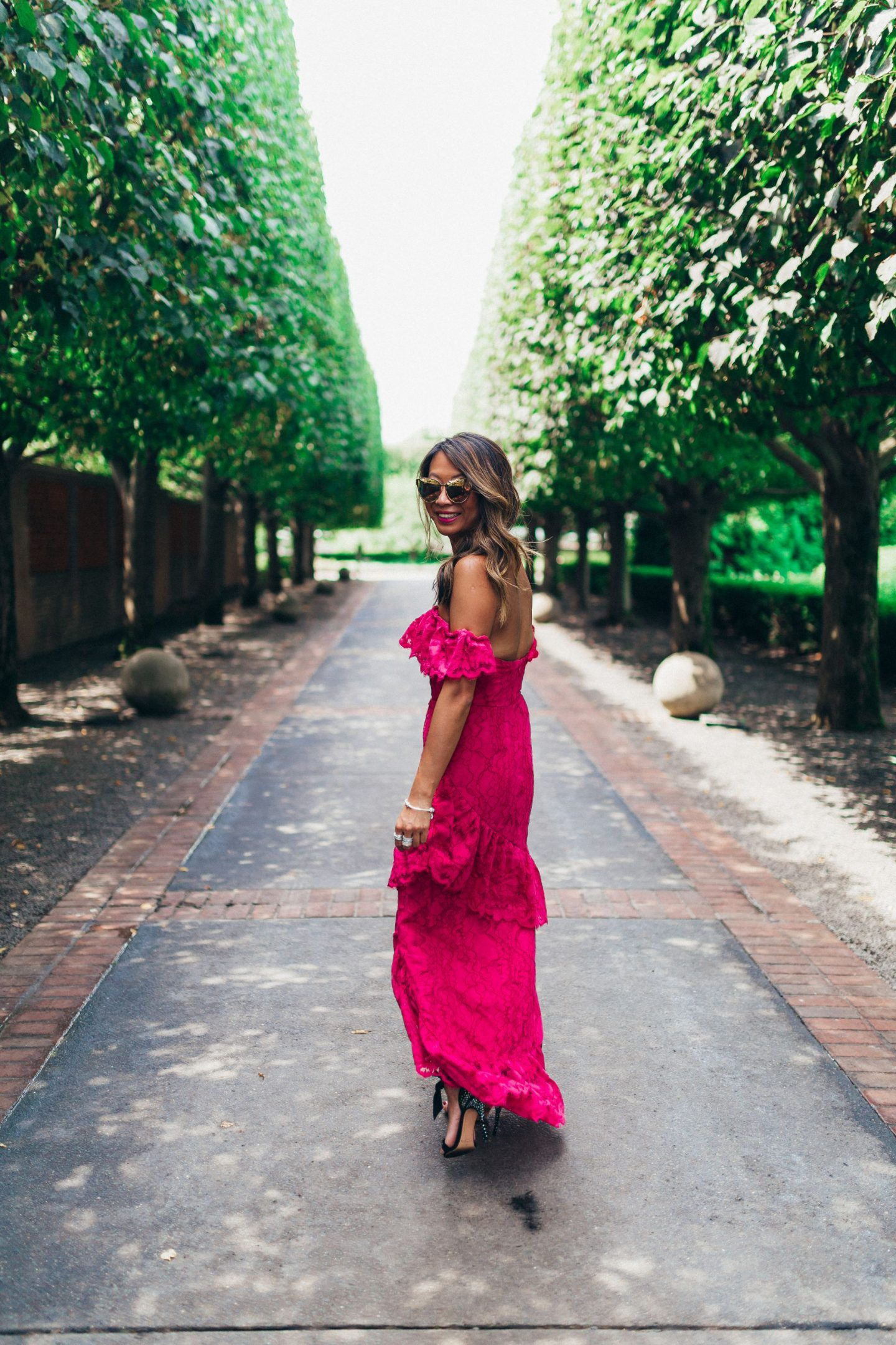 Lovers and Friends Lace Gown, Jennifer Worman, Chicago Botanic Garden, Revolve Dress, What to wear to a Wedding, Wedding Guest Style, Pink Lace Dress