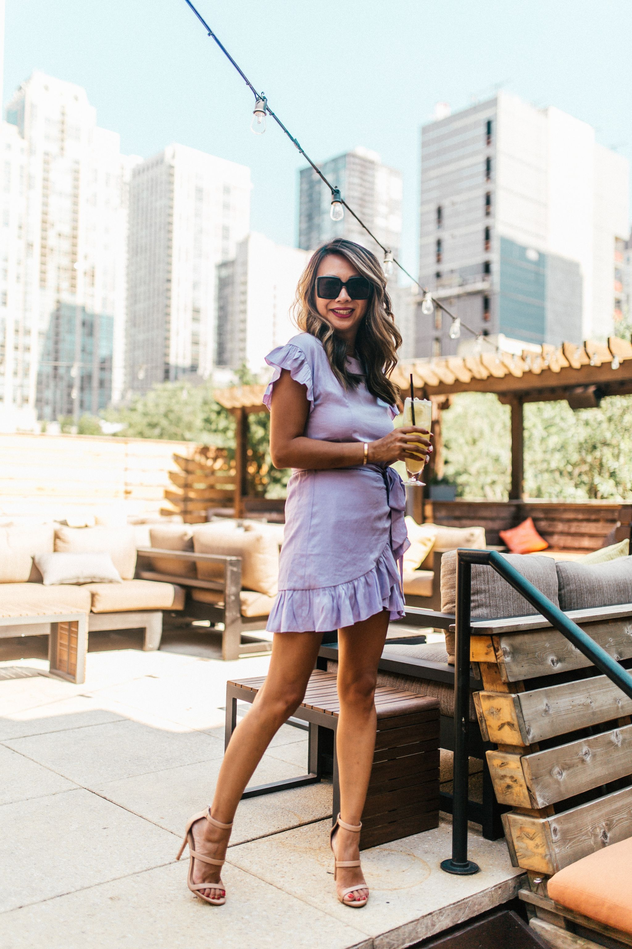 Zed451 Rooftop Bar, Best Rooftop in Chicago, Best hidden gem in Chicago, Jennifer Worman, Vici Collection wrap dress, Best Spot in Chicago