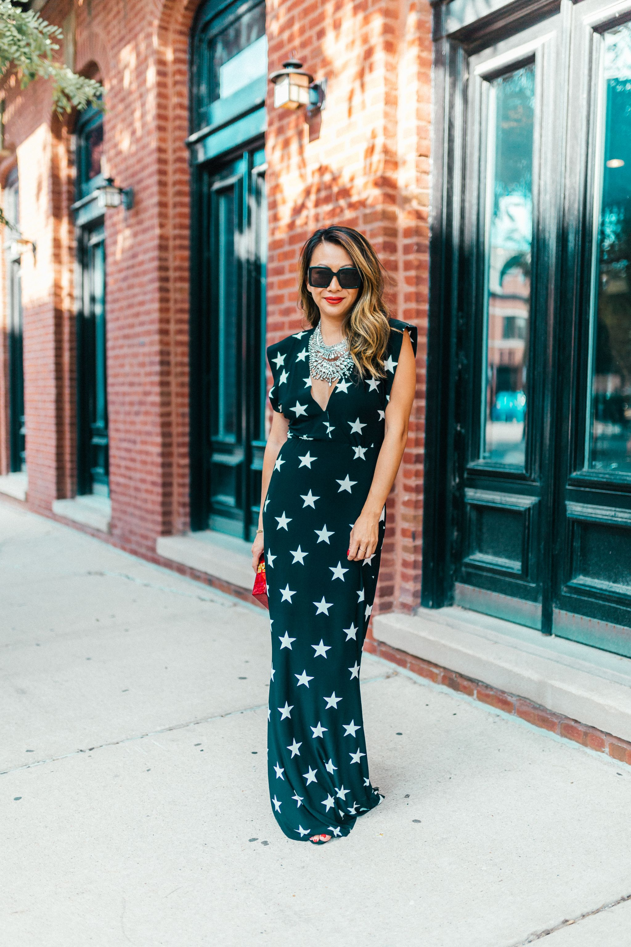 Norma Kamali Star Dress, V Neck Star Jersey Dress, Star Print Maxi Dress, what to wear to NYFW for Fall, Best Dress with statement Necklace, How to Wear a Statement Necklace, Jennifer Worman, Chicago Style Blogger