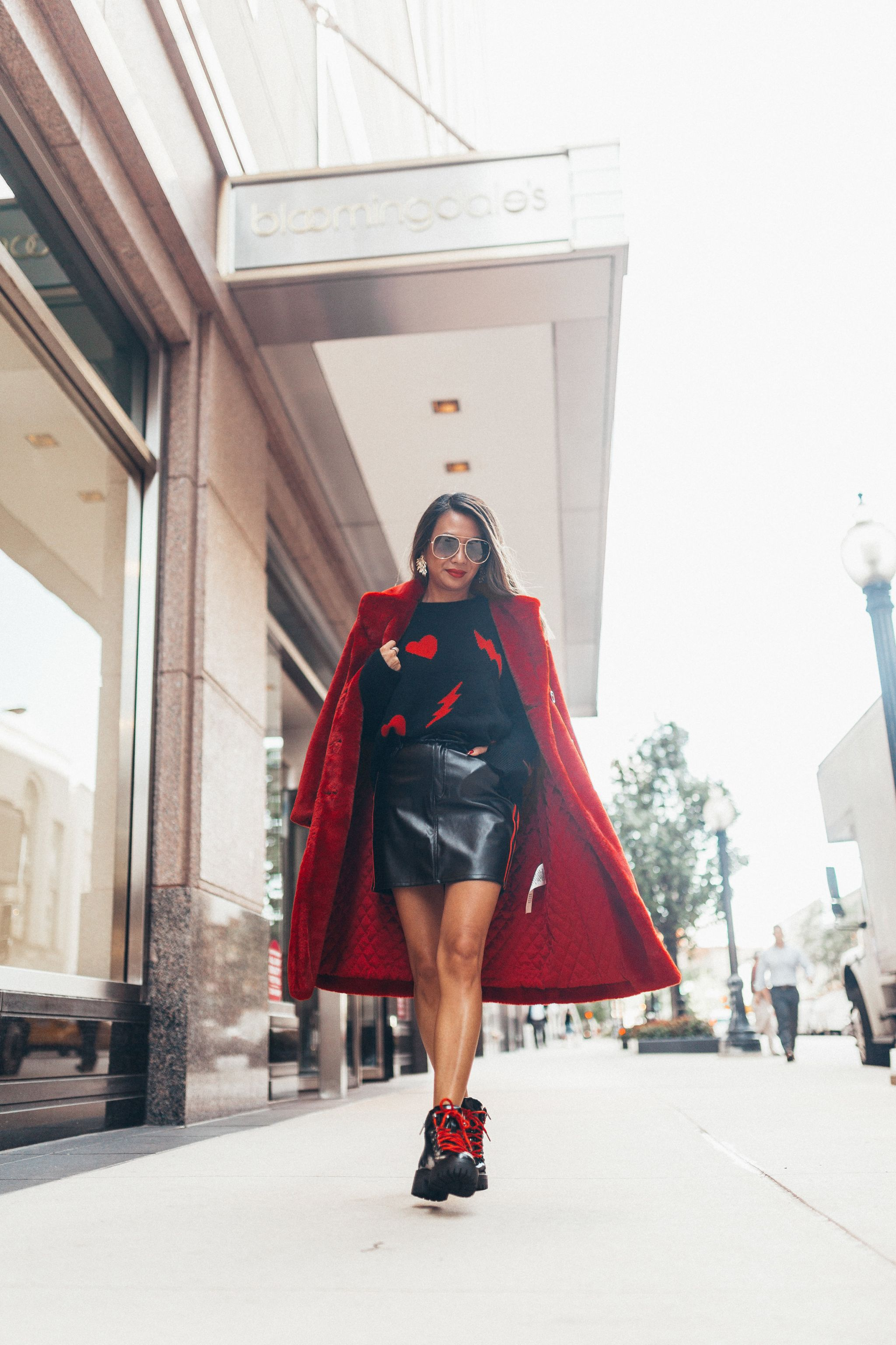 Zadig and Voltaire Sweater, Fall Fashion with Bloomingdales, How to wear a red fur, Fall style, NYFW Streetstyle, Red Faux Fur Coat, Jennifer Worman, Chicago Style Blogger
