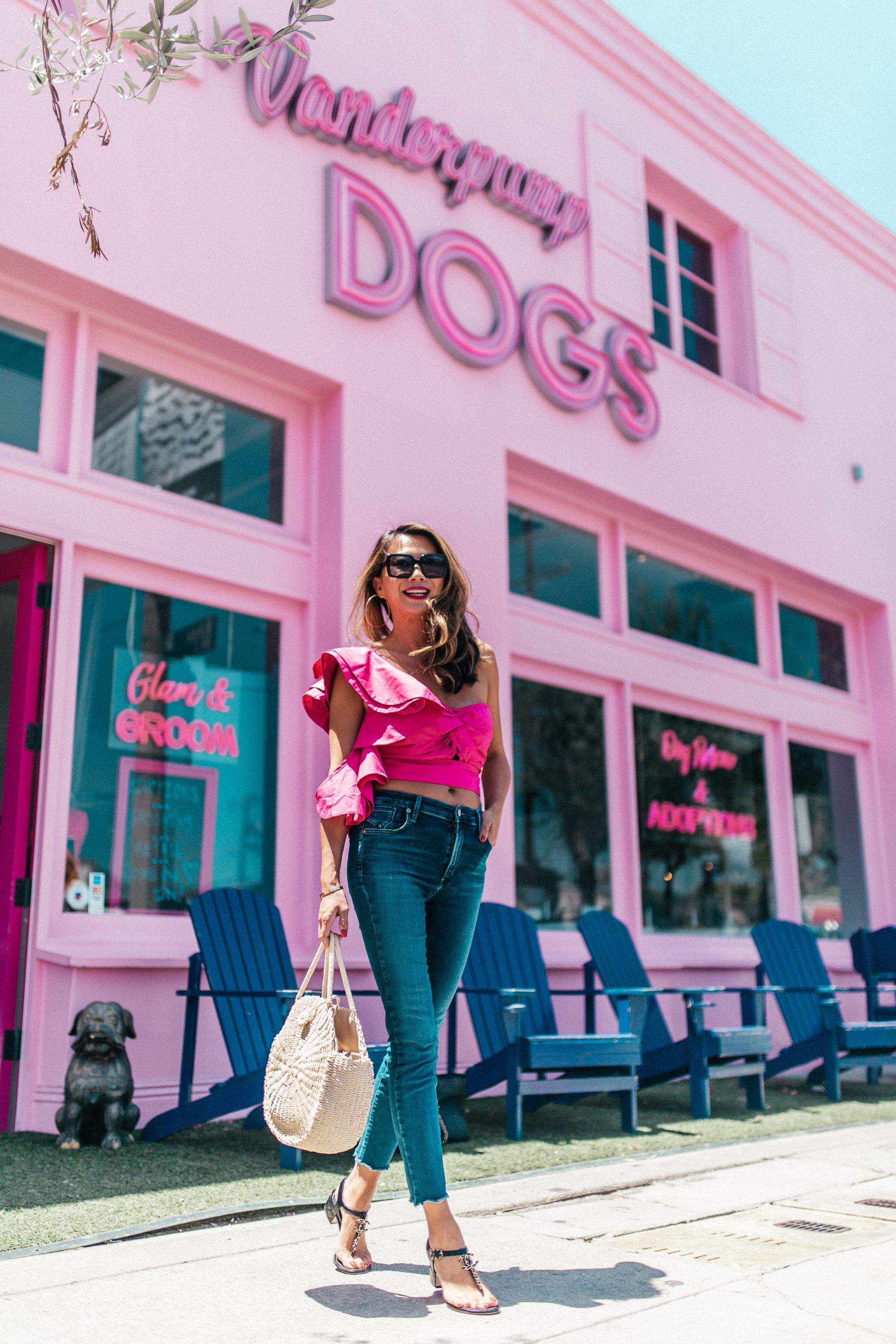 LA Blogger, chicago travel blogger, Vanderpump dogs, Ruffle pink Shirt, Shopbop Memory Lane Top, Best Summer Streetstyle in LA, Jennifer Worman