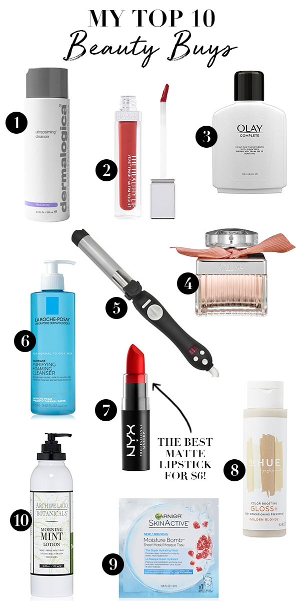 top 10 beauty buys, skincare products, makeup products, best beauty products, best lipstick, best skincare, best fragrance, drugstore beauty buys, everyday beauty essentials, everyday makeup routine, everyday skincare