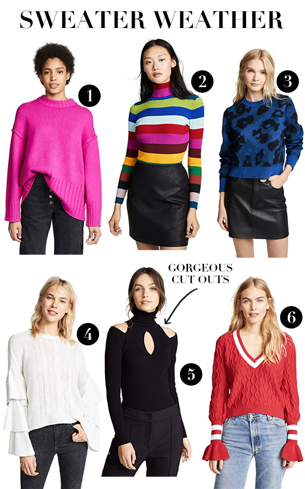 best sweaters for fall and winter, shop bop sale, trending sweaters fall 2018, leopard sweater, striped sweater, pink sweater, varsity sweater