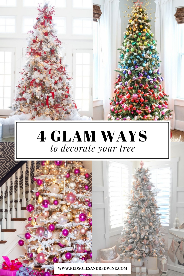 glam Christmas decor, pretty Christmas tree decoration ideas, holiday decor ideas, Christmas ornament ideas, pretty Christmas trees, colorful Christmas trees, rainbow Christmas trees