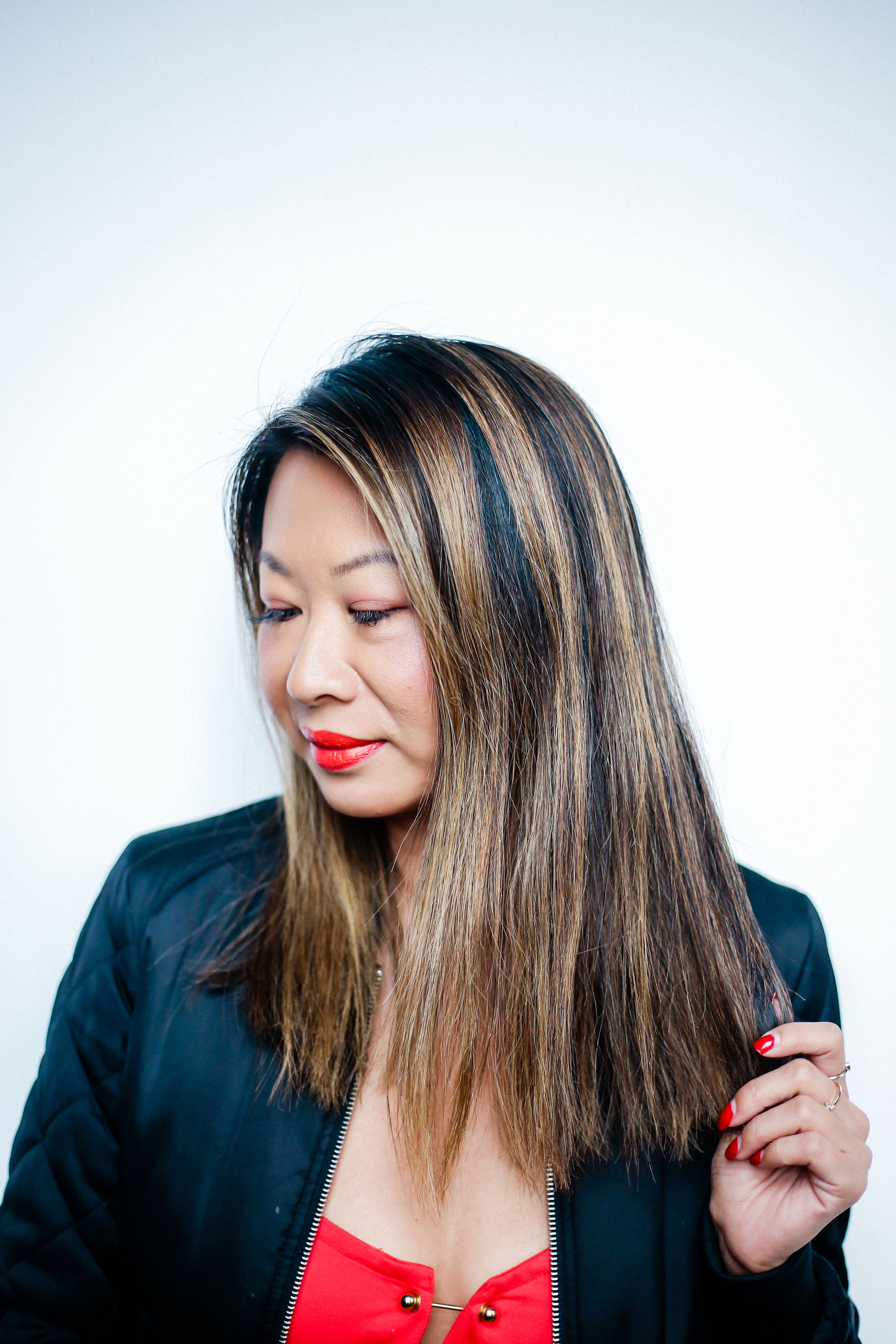 Chicago Hair Beauty Blogger, Jennifer Worman, Long Bob Hair Style, Asian Hair Balayage,