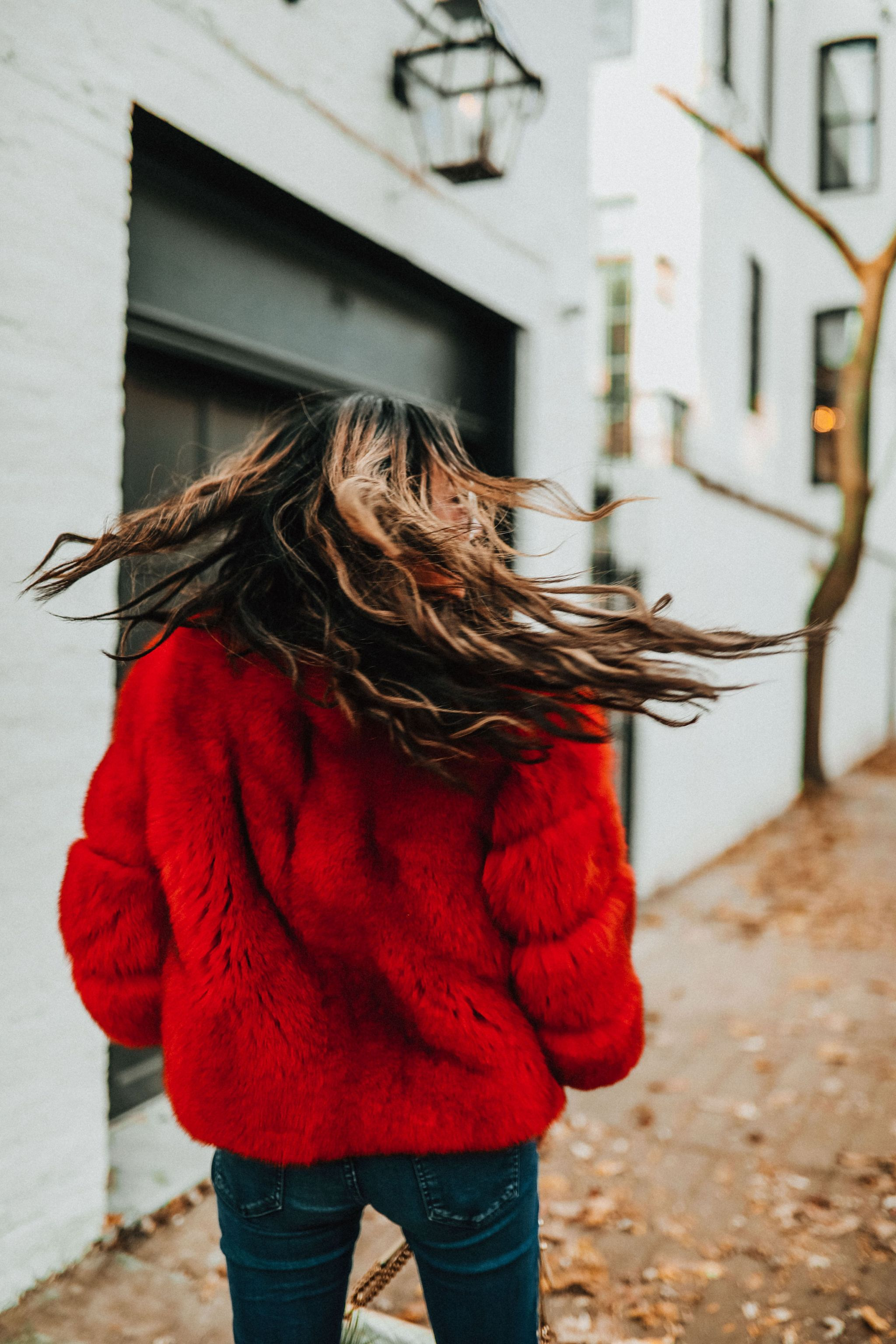 Red Fox Fur Coat, Red Faux Fur Coat, Best coat for winter in Chicago, Holiday Style in Chicago, Style Blogger Chicago, Jennifer Worman, How to style a colored fur, chicago hair extensions, best hair chicago