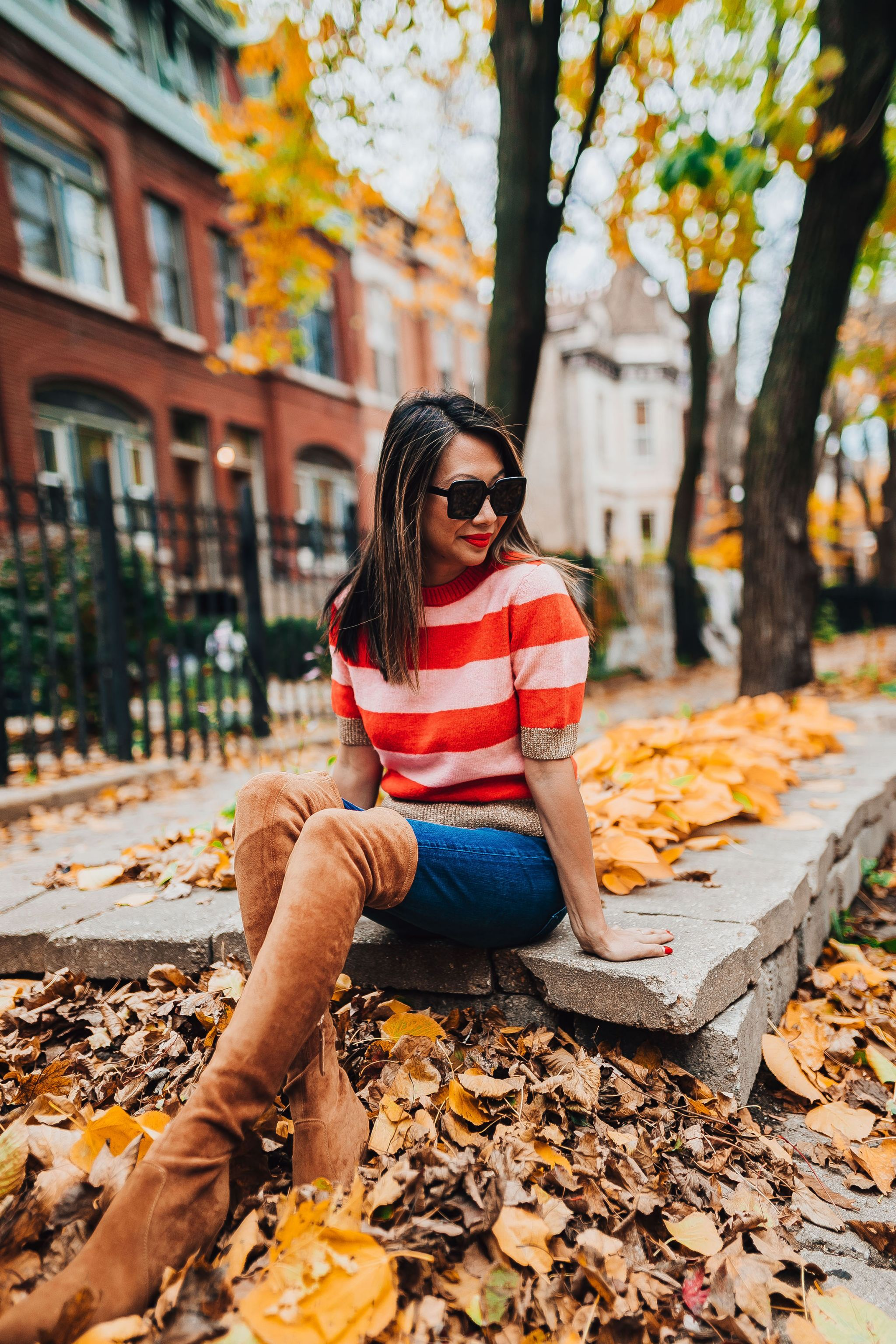 best over the knee boots, style steal over the knee boots, how to style over the knee boots, goodnight macaroon over the knee boots, brown over the knee boots, nordstrom, chicago blogger, jennifer worman