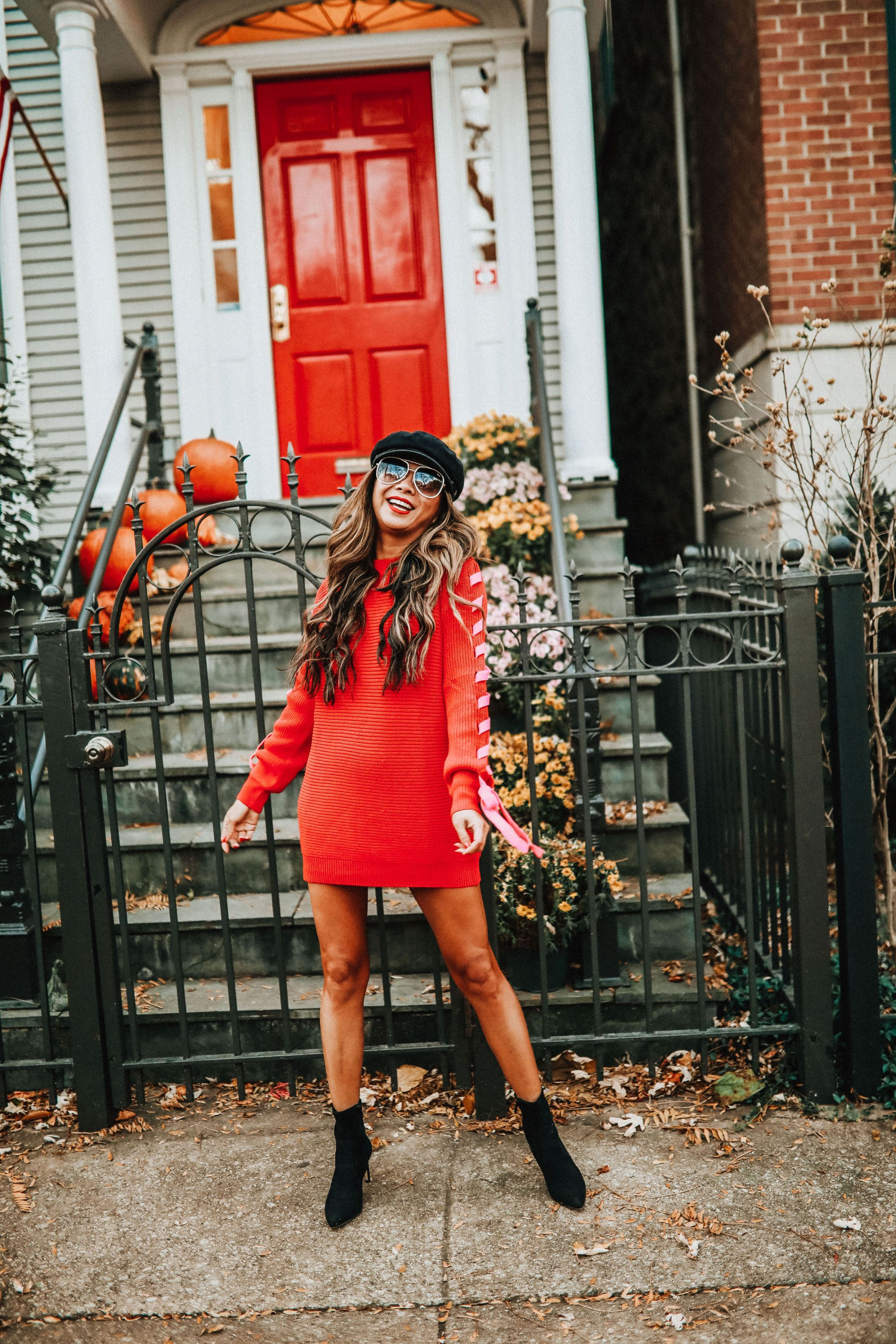 Jennifer Worman, Madison Sweater Dress, Revolve Sweater Dress, How to style a sweater dress, Holiday red sweater dress, Chicago holiday style, Chicago Style Blogger, Jennifer Worman