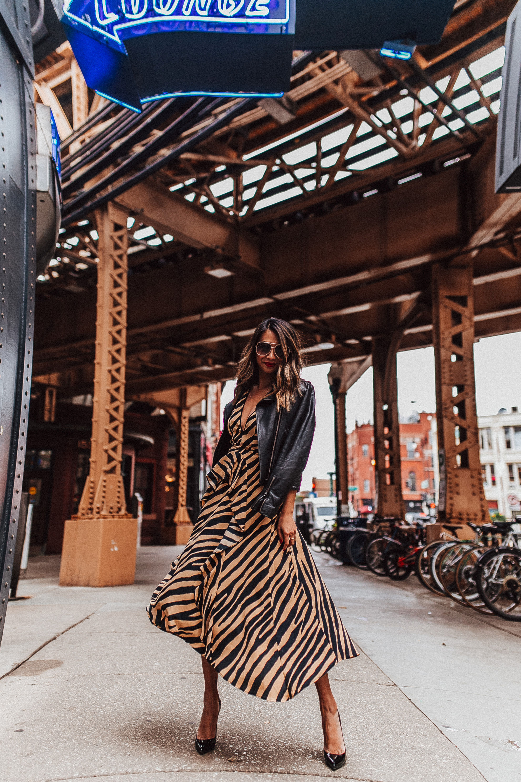 nordstrom topshop dress, leopard print dress, jennifer worman, chicago fall style,
