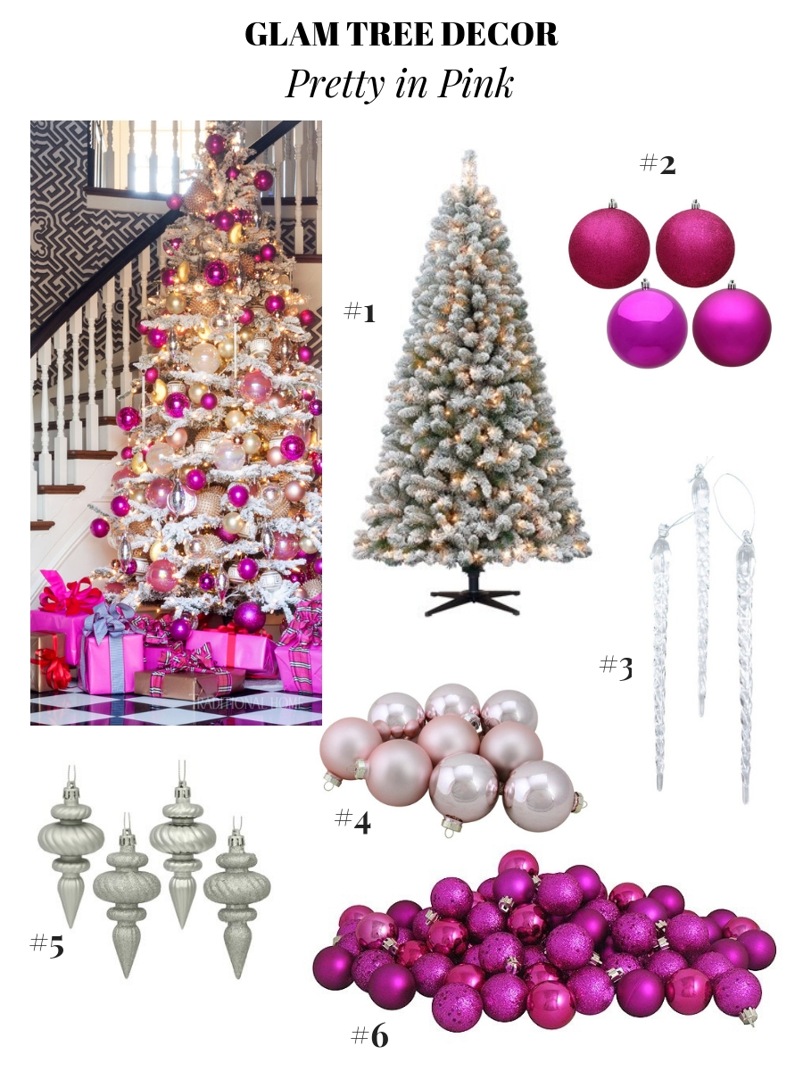 glam Christmas decor, pretty Christmas tree decoration ideas, holiday decor ideas, Christmas ornament ideas, pretty Christmas trees, colorful Christmas trees, hot pink Christmas tree, girly christmas decor, Flocked Christmas Tree Inspiration