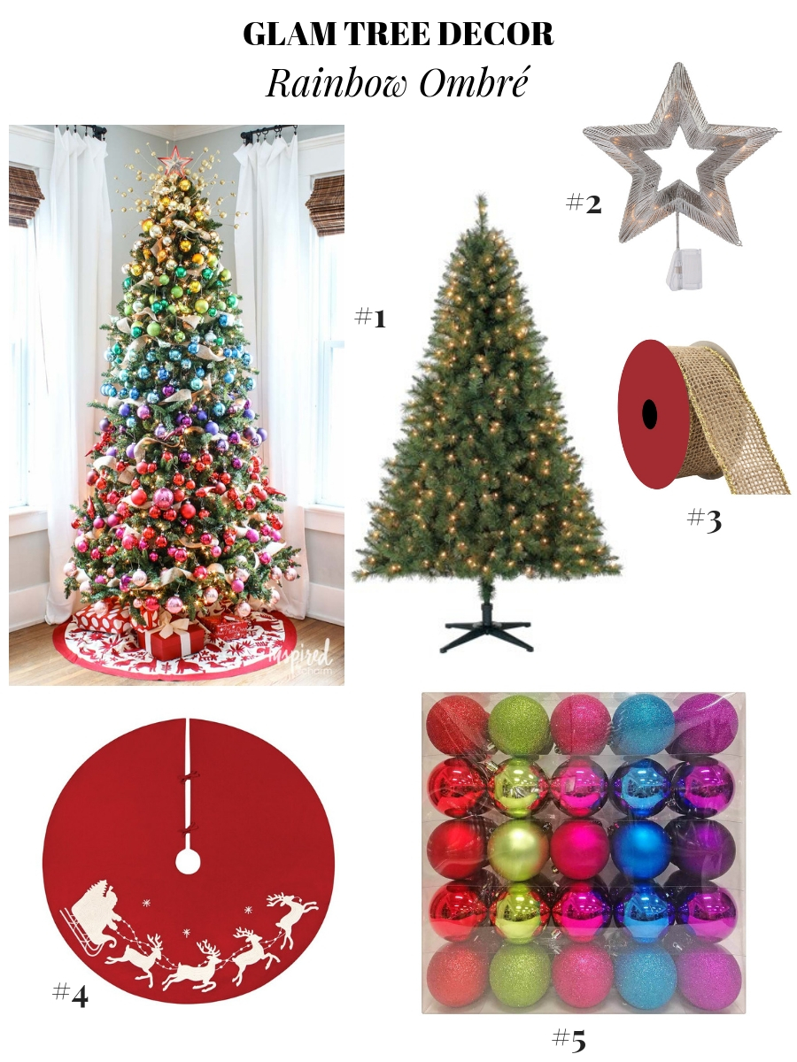 glam Christmas decor, pretty Christmas tree decoration ideas, holiday decor ideas, Christmas ornament ideas, pretty Christmas trees, colorful Christmas trees, rainbow Christmas trees, ombre Christmas tree decor, multicolor Christmas tree, Ombre Christmas Tree Ornaments