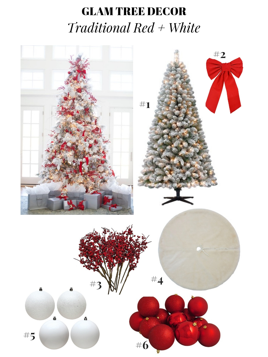 glam Christmas decor, pretty Christmas tree decoration ideas, holiday decor ideas, Christmas ornament ideas, pretty Christmas trees ,red and white Christmas tree, traditional Christmas tree decor, Flocked Christmas Tree Decoration
