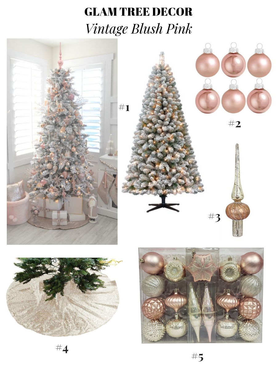 glam Christmas decor, pretty Christmas tree decoration ideas, holiday decor ideas, Christmas ornament ideas, pretty Christmas trees, vintage Christmas trees, blush pink Christmas tree, rose gold Christmas tree decor, Flocked Christmas Tree Decor