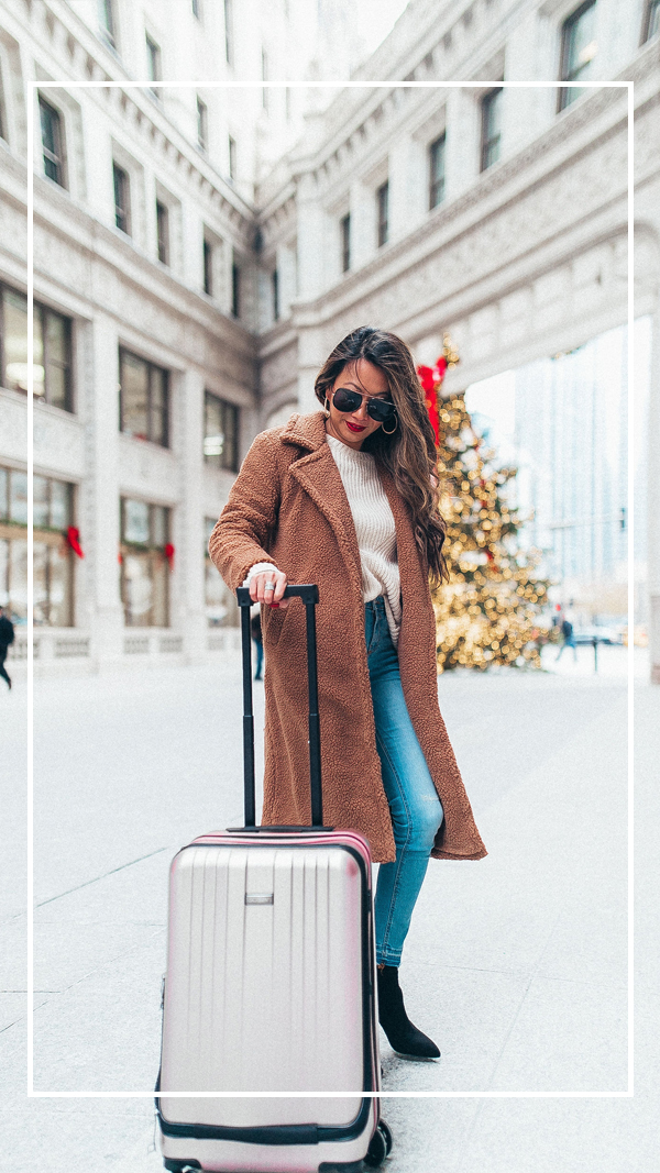 Jennifer worman, chicago blogger, travel blogger, best carry on luggage for a steal, pink carry on luggage, amazon luggage, best suitcase