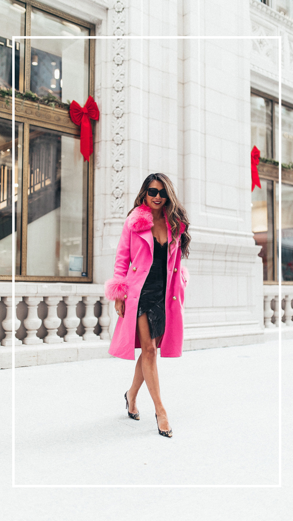 Jennifer worman, chicago blogger, fashion blogger, 5 trends I am loving, winter wardrobe, outfit ideas, womens fashion, pink coat with fur accents, pink winter coats, best winter coats