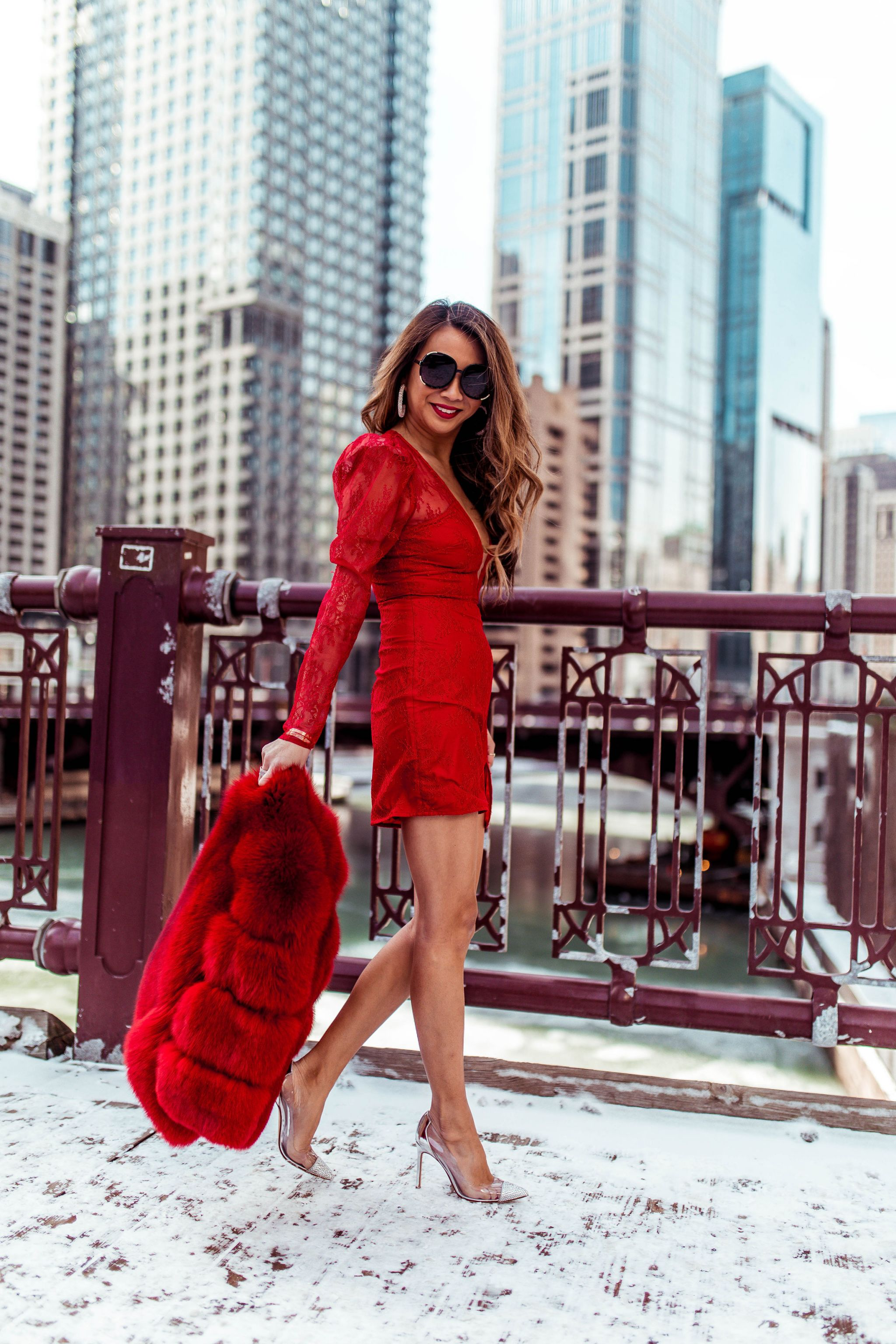 Best Date Night Spots in Chicago, Chicago Best Restaurants, Michael Costello Dress, Best Red Dress, Chicago Fashion Blogger, Chicago Riverwalk, Vday style, Jennifer Worman, Best spot to take photos in Chicago, Revolve Red Dress