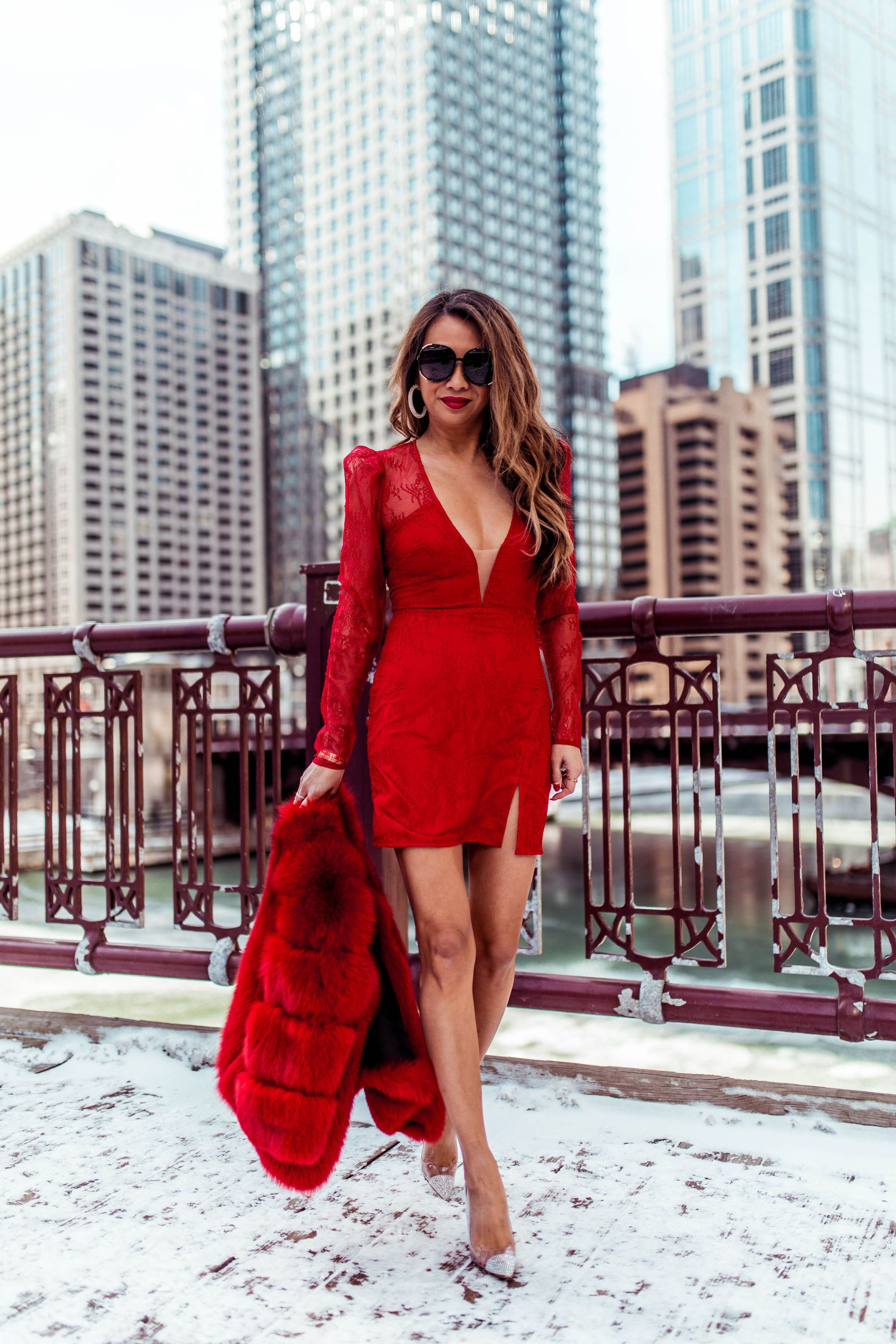 Michael Costello Dress, Best Red Dress, Chicago Fashion Blogger, Chicago Riverwalk, Vday style, Jennifer Worman, Best spot to take photos in Chicago, Revolve Red Dress