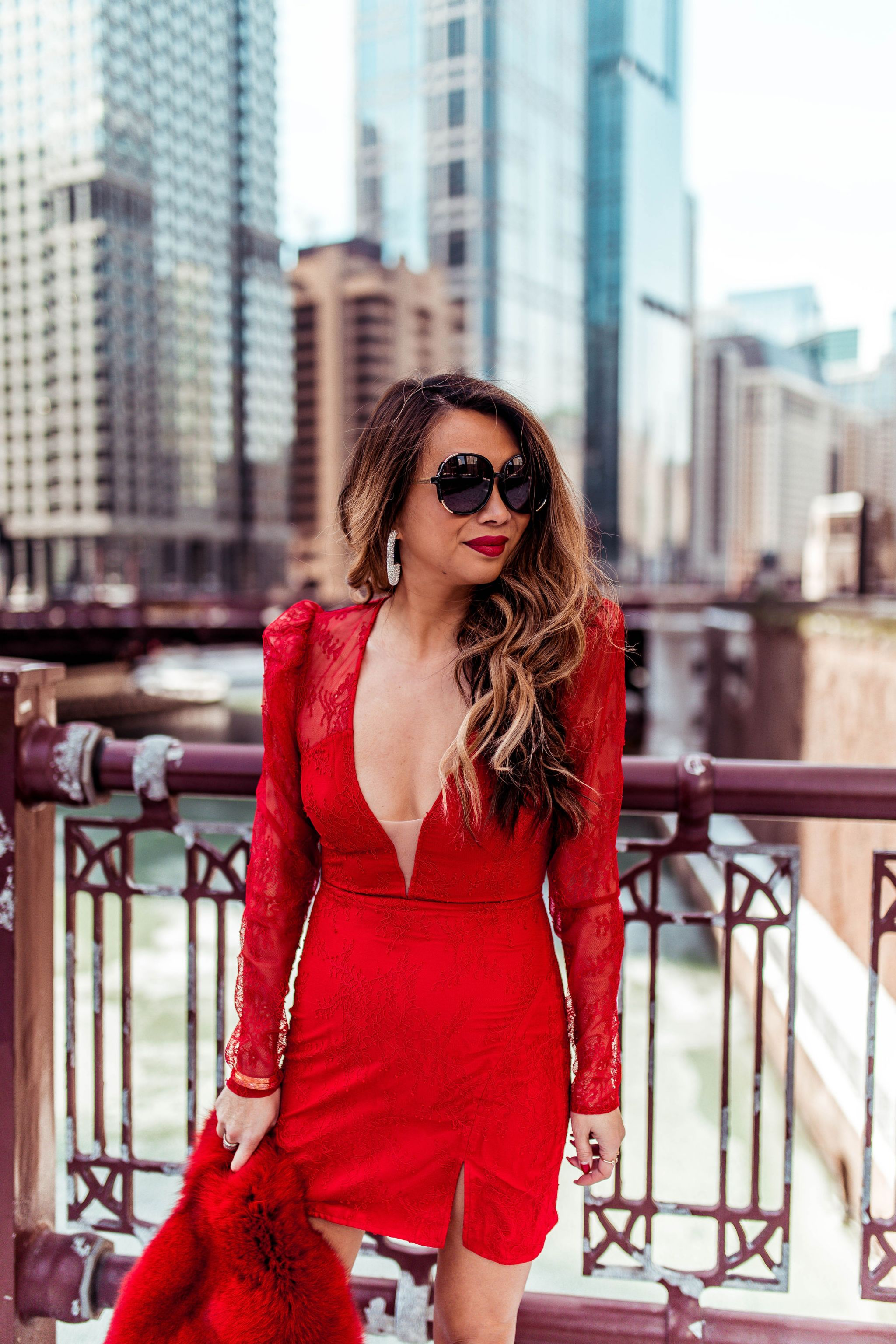 Michael Costello Dress, Best Red Dress, Chicago Fashion Blogger, Chicago Riverwalk, Vday style, Jennifer Worman, Best spot to take photos in Chicago, Revolve Red Dress, Costello Vivian Dress