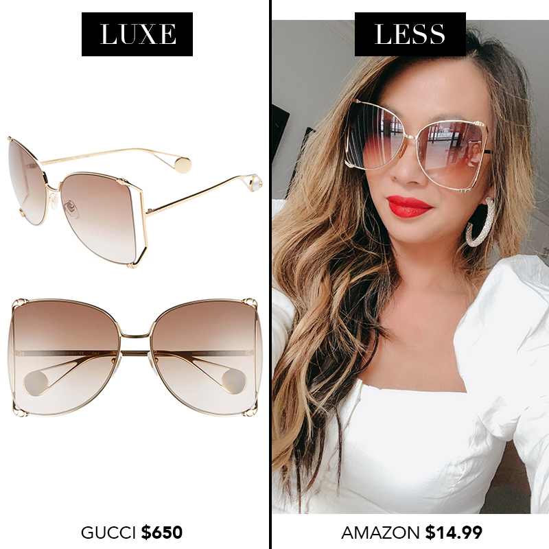 Gucci Oversize Butterfly Sunglasses, Gucci sunglasses dupes, designer sunglasses dupes, luxe for less sunglasses, designer sunglasses for less, amazon finds, amazon shopping, sunglasses from amazon, designer dupes from amazon, spring 2019 finds from amazon