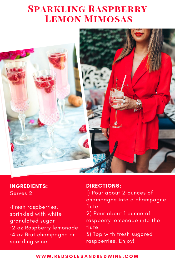 Valentine's Day cocktail recipe, easy cocktail recipe for date night, sparkling raspberry lemon mimosa recipe for vday, champagne cocktail recipe, easy champagne cocktail ideas