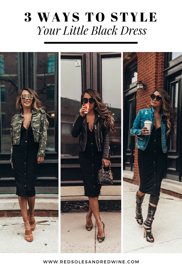 3 ways to style a little black dress, 1 dress 3 ways, how to style a black dress, how to dress up a black midi dress, outfit ideas, fashion blogger, style blogger, street style, how to style a dress multiple ways