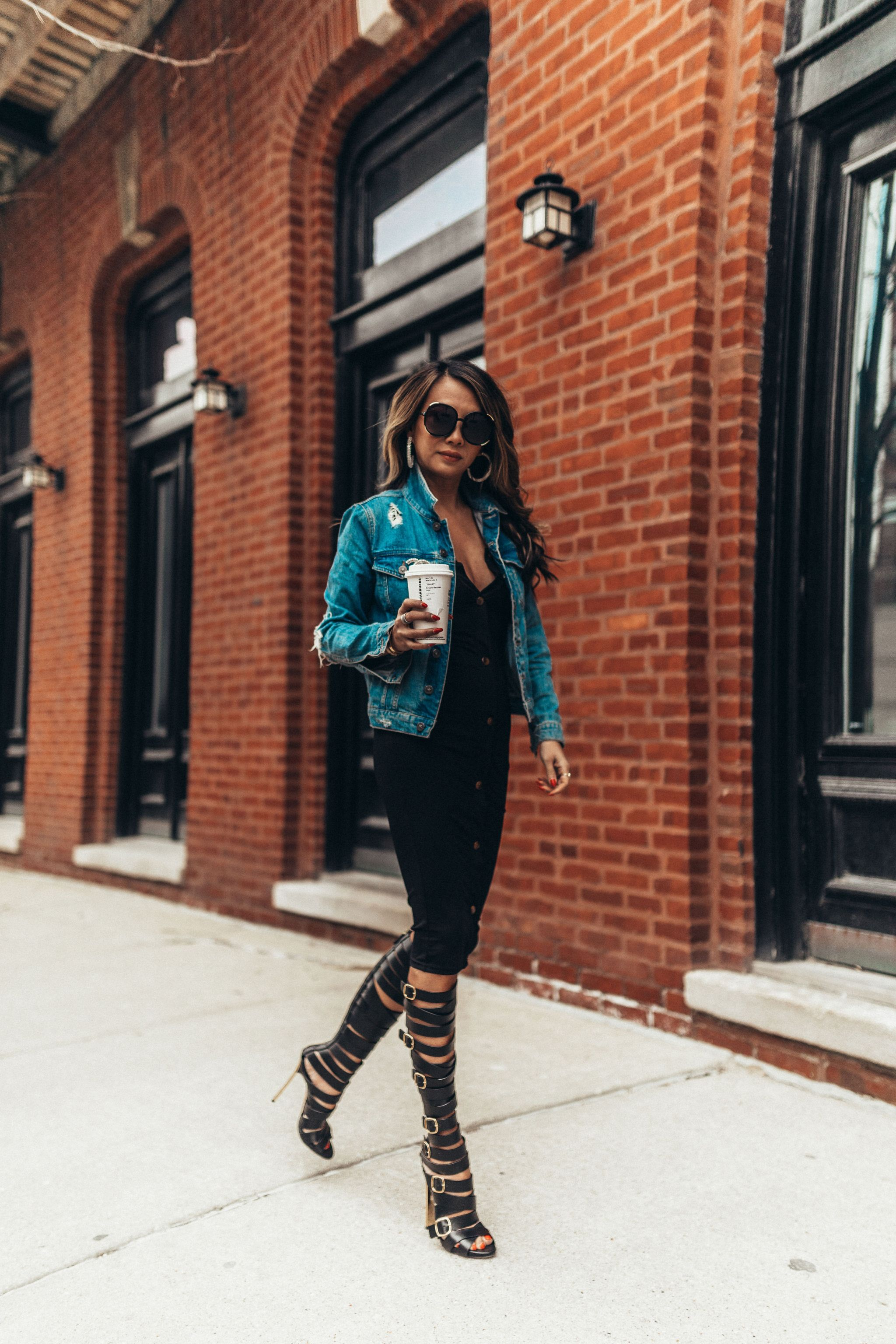 3 ways to style a little black dress, 1 dress 3 ways, how to style a black dress, how to dress up a black midi dress, outfit ideas, fashion blogger, style blogger, street style, how to style a dress multiple ways, denim jacket outfit ideas, black dress outfit ideas