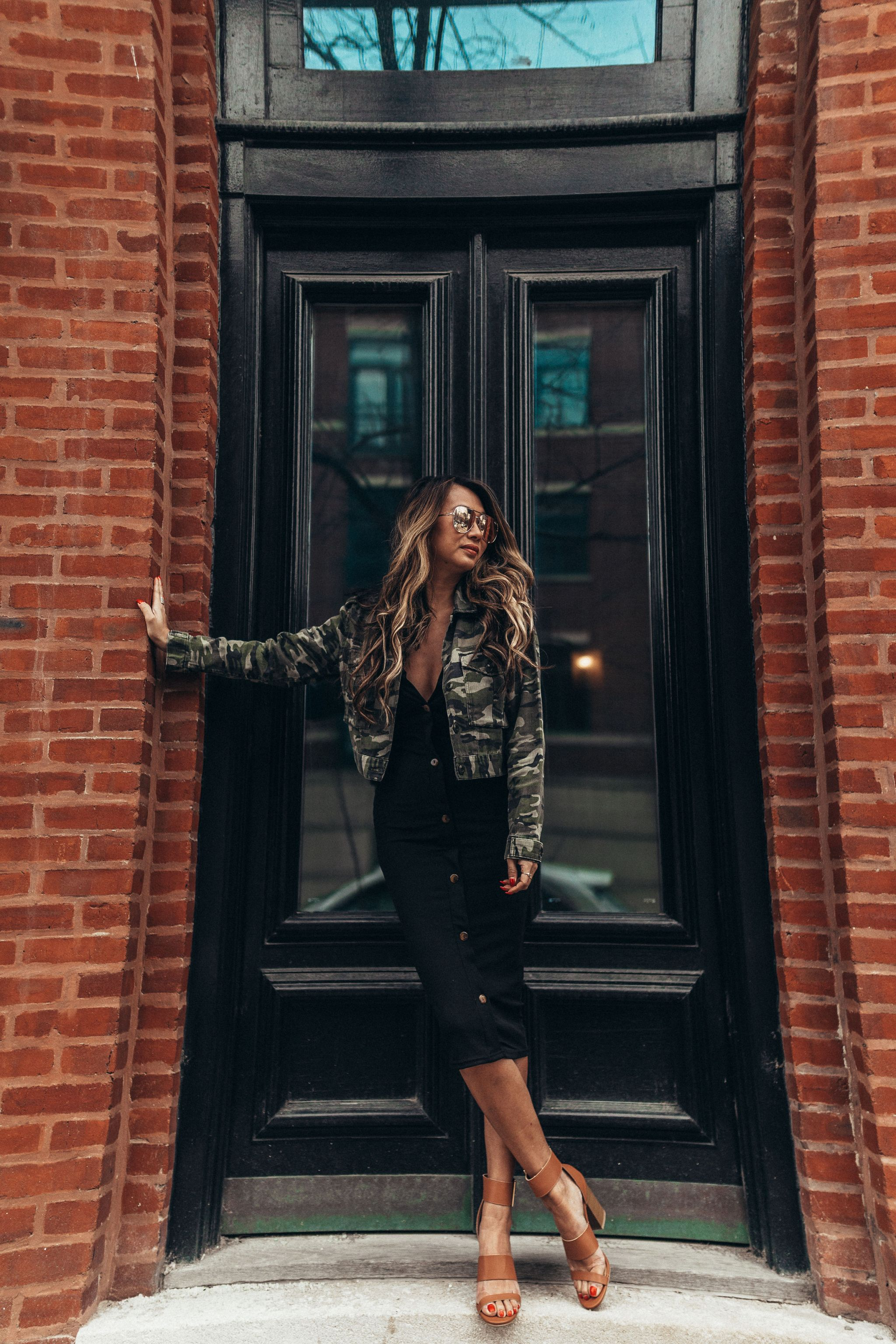 3 ways to style a little black dress, 1 dress 3 ways, how to style a black dress, how to dress up a black midi dress, outfit ideas, fashion blogger, style blogger, street style, how to style a dress multiple ways, camo jacket and black dress, how to style a camo jacket, black dress spring outfit