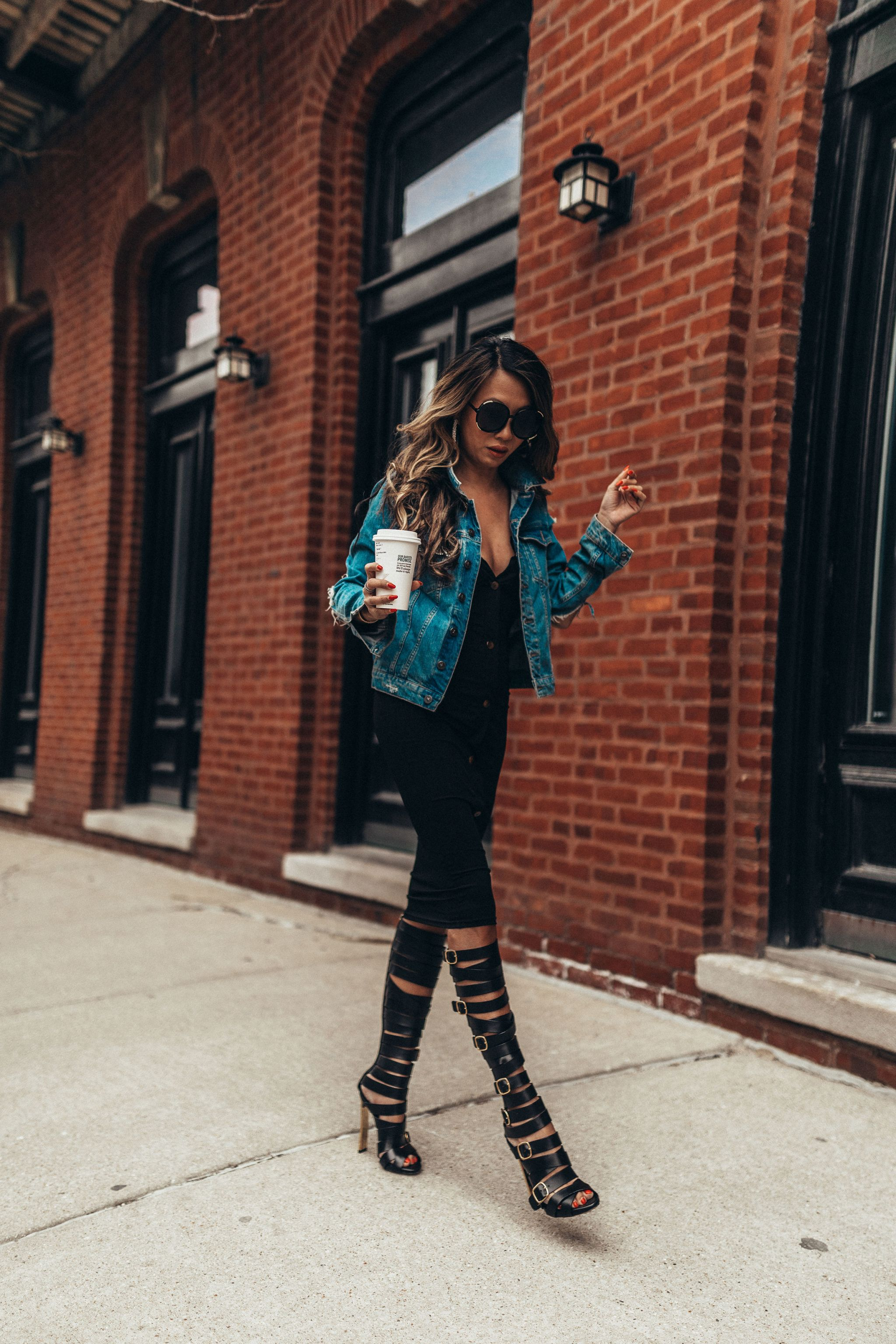 3 ways to style a little black dress, 1 dress 3 ways, how to style a black dress, how to dress up a black midi dress, outfit ideas, fashion blogger, style blogger, street style, how to style a dress multiple ways, denim jacket, distressed denim jacket outfits, black dress outfits