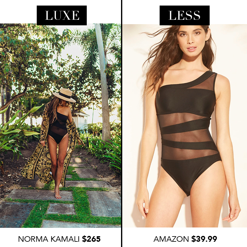 norma kamali swimsuit, black mesh cut out swimsuit, look for less swimsuit, designer swimsuit dupes, designer dupes at target, shopbop, target, one piece swimsuit