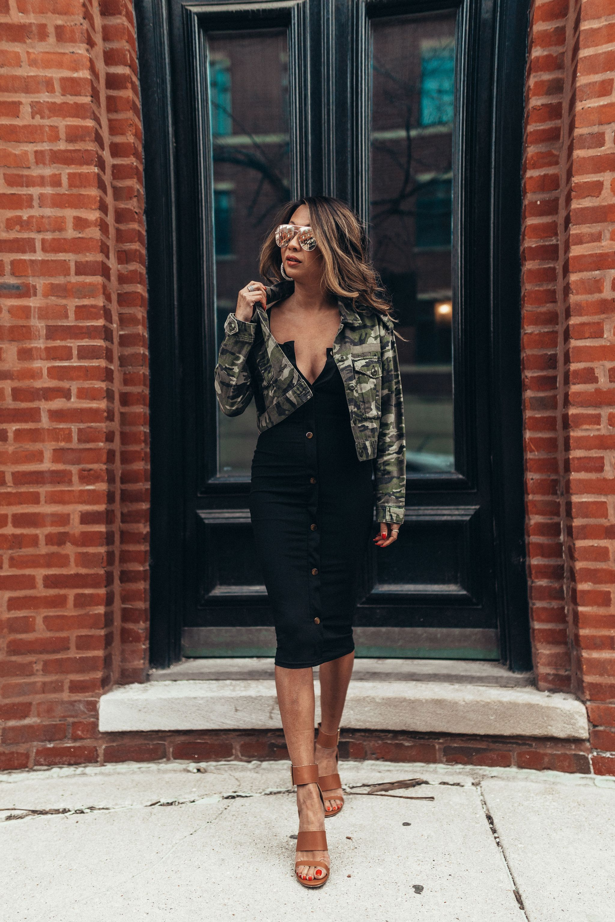 3 ways to style a little black dress, 1 dress 3 ways, how to style a black dress, how to dress up a black midi dress, outfit ideas, fashion blogger, style blogger, street style, how to style a dress multiple ways, camo jacket and black dress, how to style a camo jacket