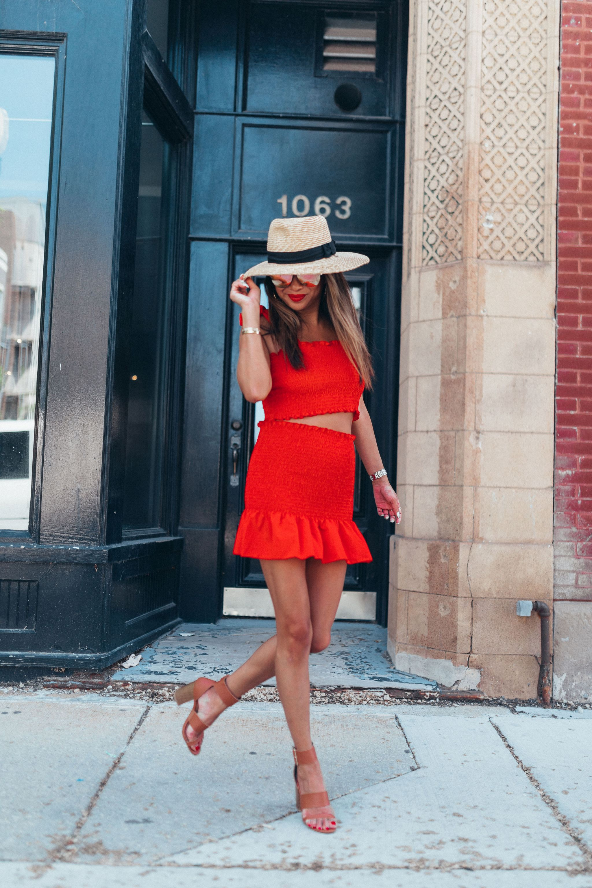 Amazon 2 piece outfit set, summer fashion finds for a steal, chicago summer style, best fashion finds amazon, jennifer worman, chicago lifestyle blogger, summer fashion for a steal, smocked skirt, smocked top, brixton hat