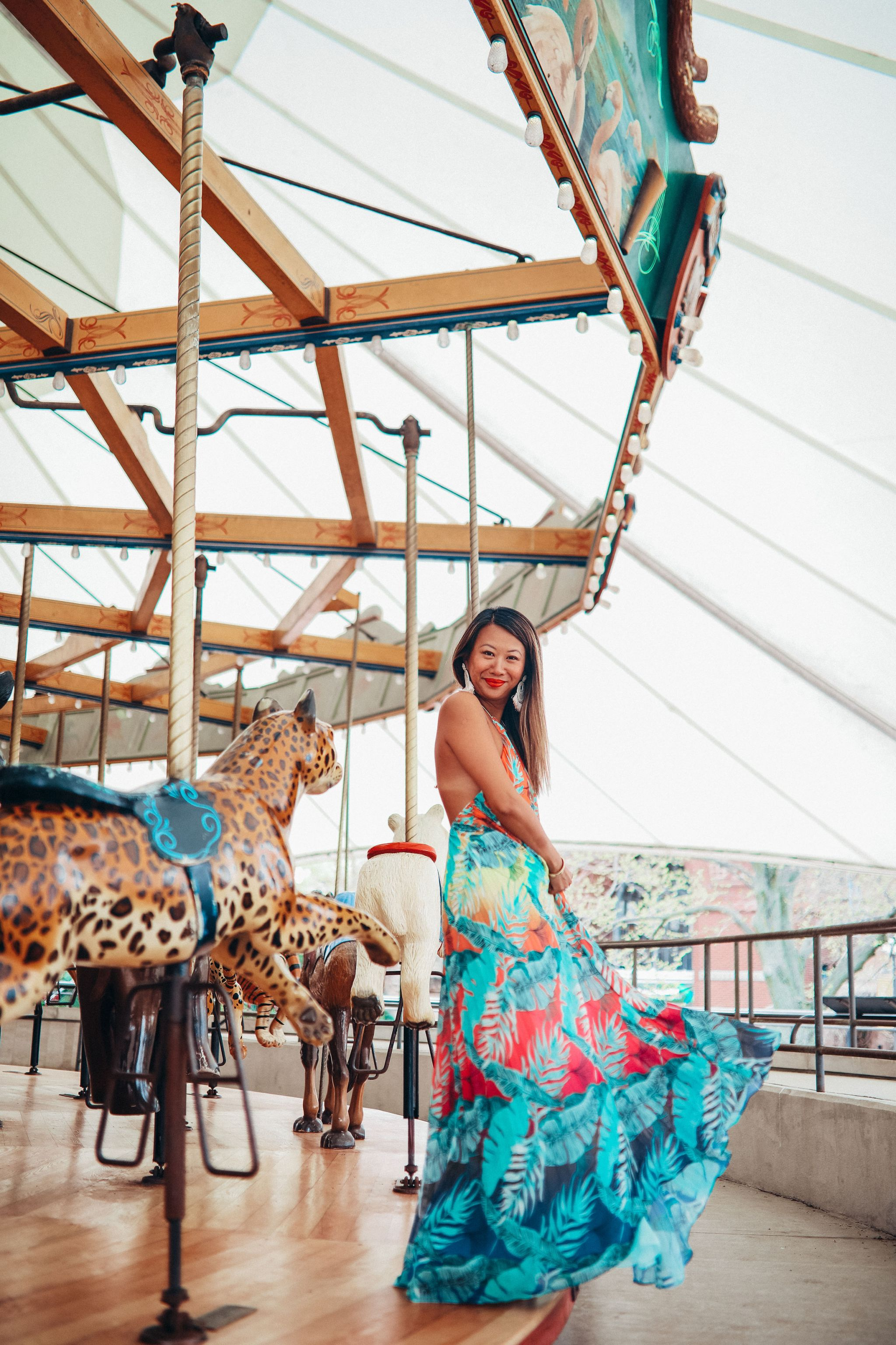 About Jennifer Worman, Chicago Style Blogger, Akira Maxi Dress, Tropical Maxi Dress for Summer, Best Dress for the Summer, Chicago Carousel, Best Places to take Photos in Chicago