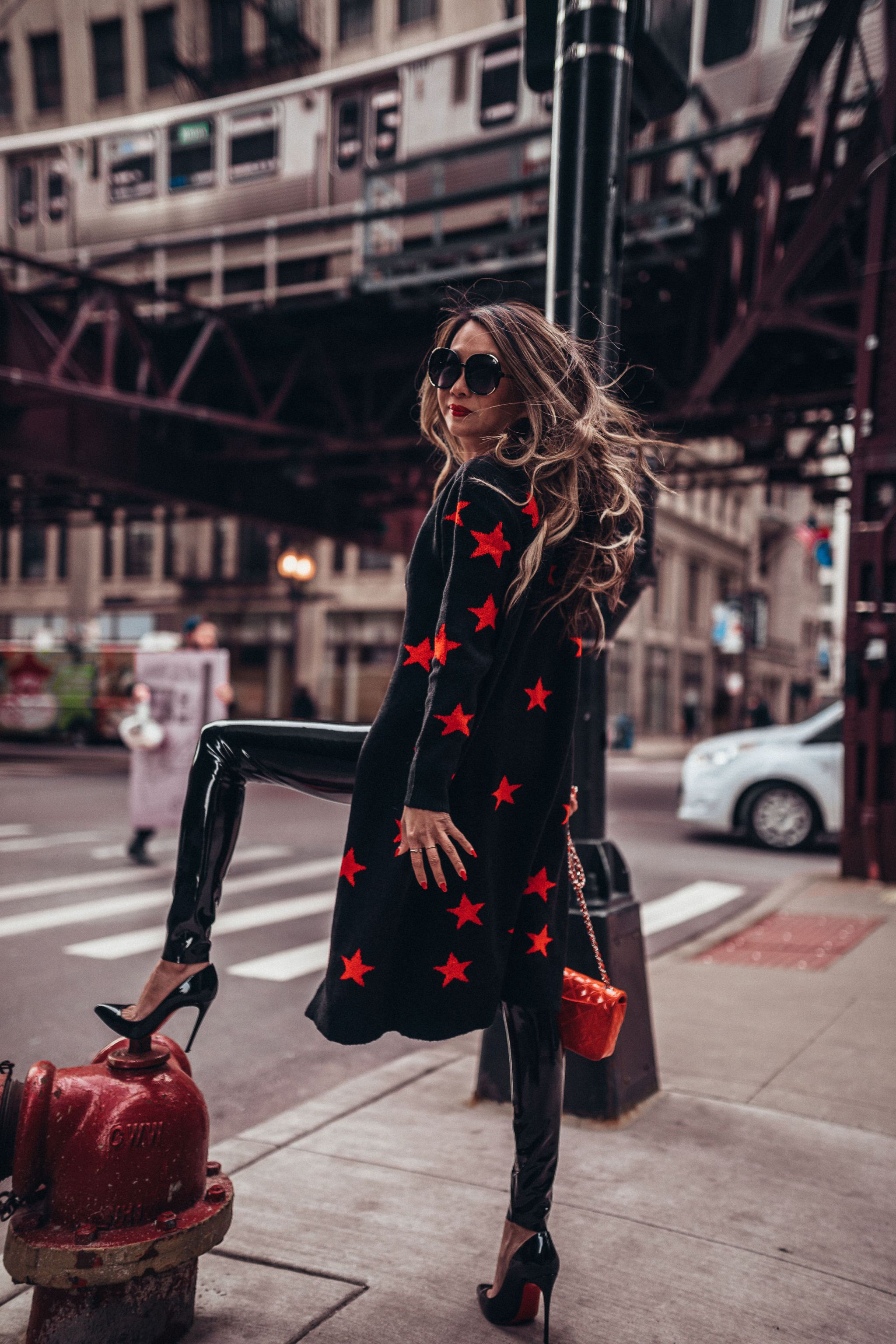 Dating in Chicago, Revolve Cosmos Sweater, Star Sweater, Commando Patent Leggings, Style in Chicago, Chicago Blogger, How to Wear Patent Leggings, Dating after Divorce, Modern Day Sex and the City, Sex and the Chi-city
