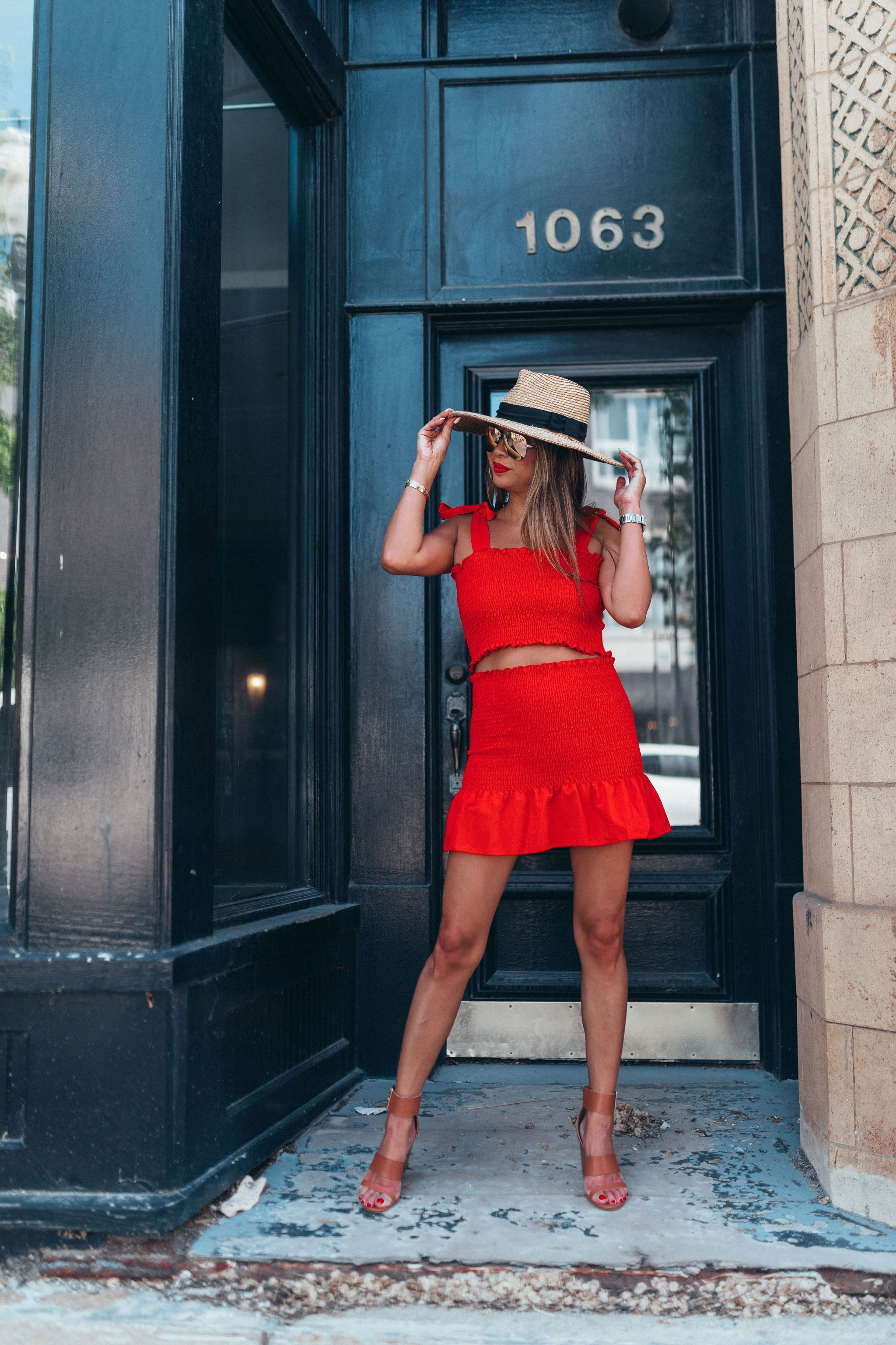 Amazon 2 piece outfit set, summer fashion finds for a steal, chicago summer style, best fashion finds amazon, jennifer worman, chicago lifestyle blogger, summer fashion for a steal, smocked skirt, smocked top, brixton hat, amazon fashion finds