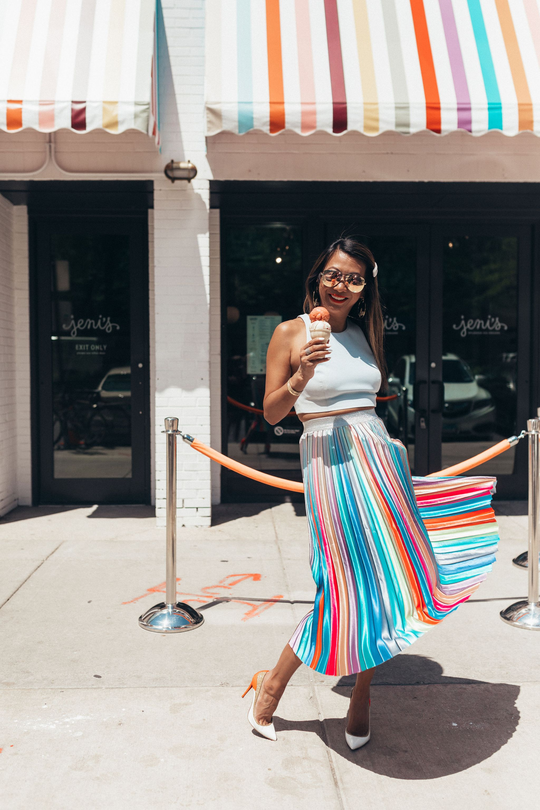 Jennifer worman, red soles and red wine, personal life and struggles, what I am struggling with lately, real talk and personal growth, fears, Akiria Express Your Feelings Midi Skirt, Jeni's Ice Cream Chicago, Chicago blogger, rainbow skirt outfit, pleated skirt outfit