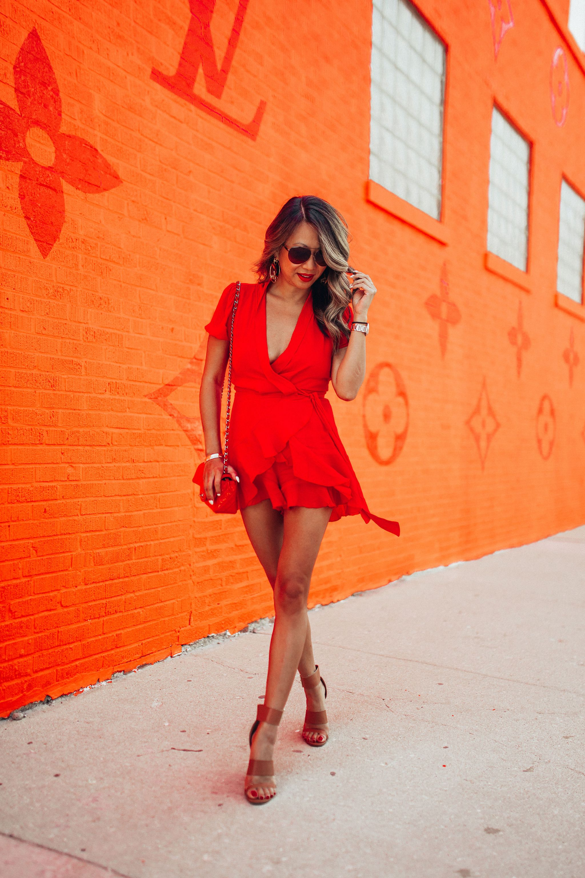 10 red styles under $100, best red dresses under $100, best red dresses for a steal, red dresses on a budget, Jennifer Worman, red soles and red wine, mom blog, Louis Vuitton Pop Up Chicago, Chicago blogger, Akira it's brunch o clock somewhere wear dress, red romper style, summer style, red romper style, wrap style romper