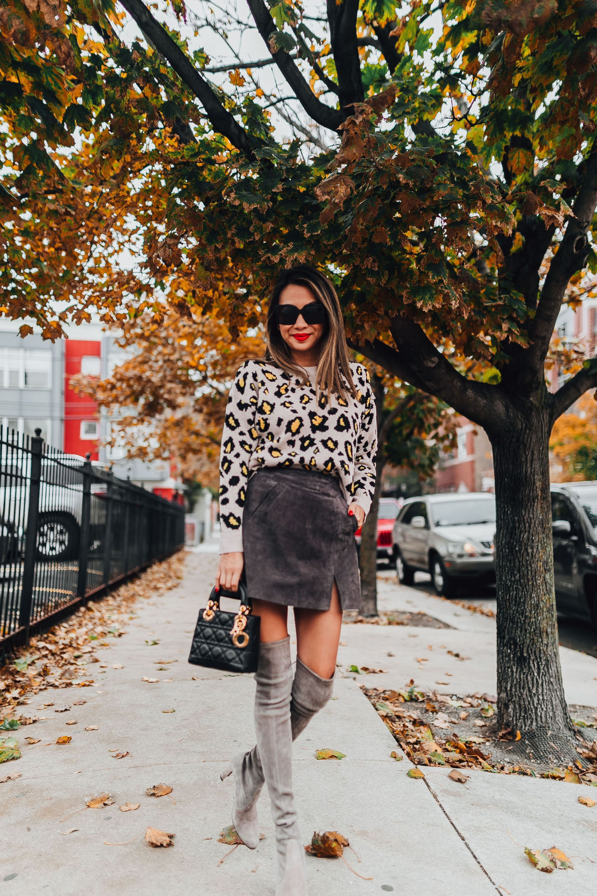 Blank Denim Suede Skirt, Leopard Sweater, Over the Knee Boots, Nordstrom Anniversary Sale